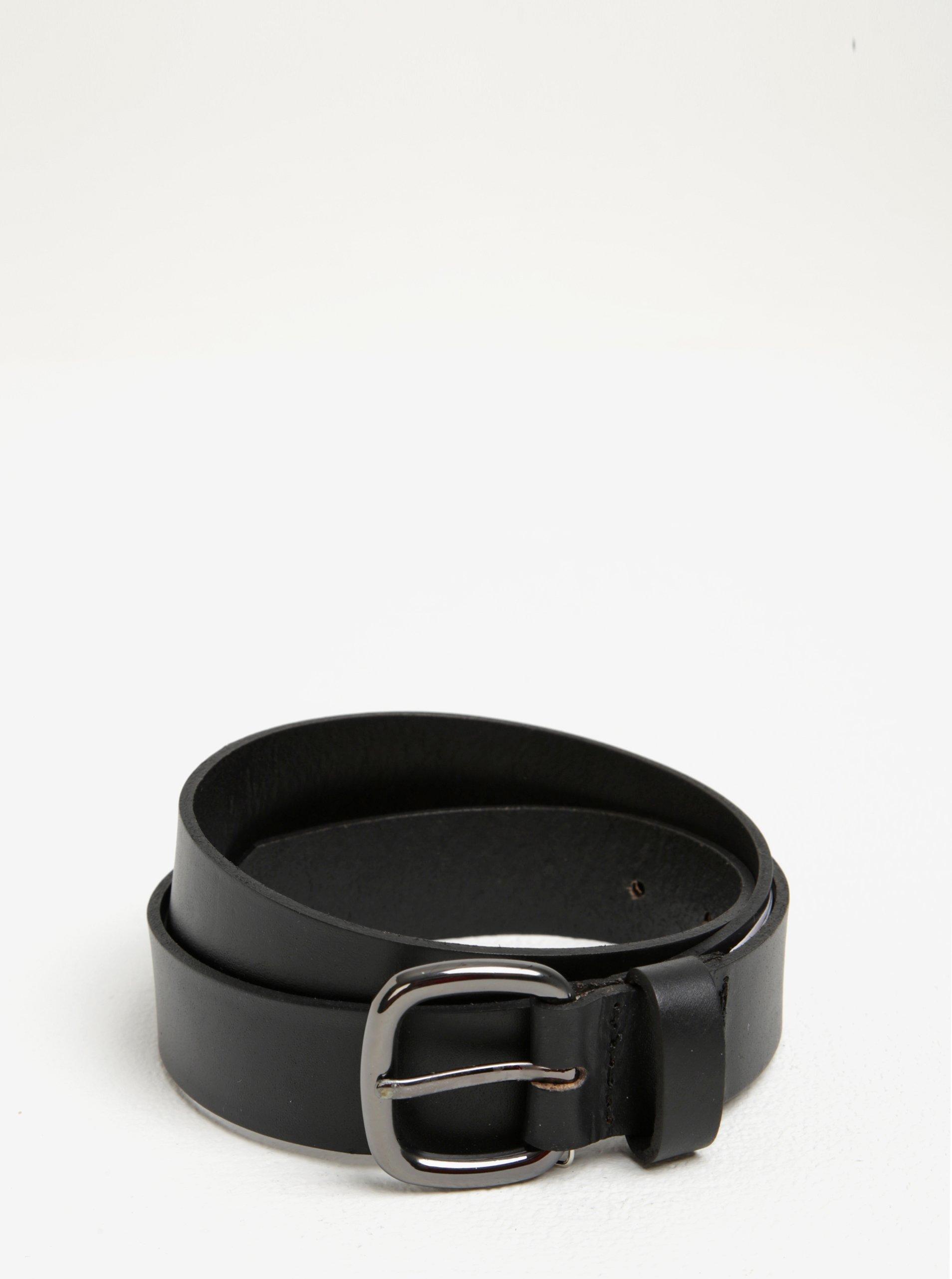 Černý kožený pásek s metalickou přezkou Pieces Rena