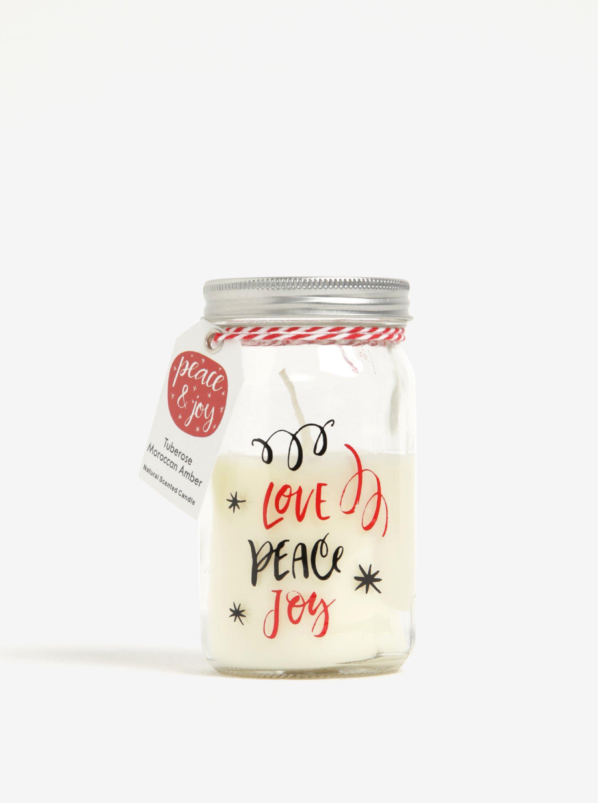 Svíčka ve skle s potiskem LOVE, PEACE, JOY Kaemingk