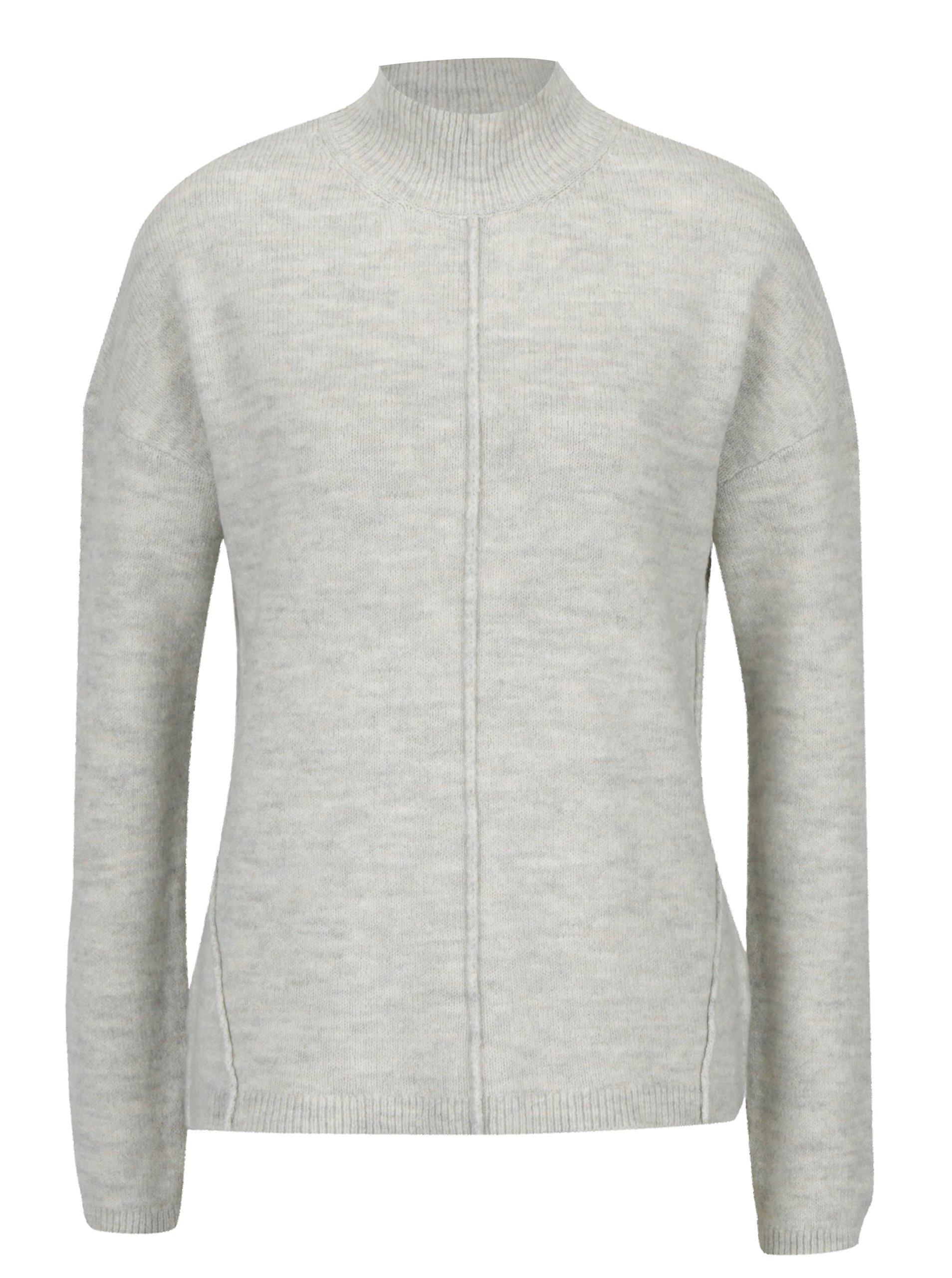 202b60a09826 Sivý dámsky melírovaný sveter so stojačikom s.Oliver