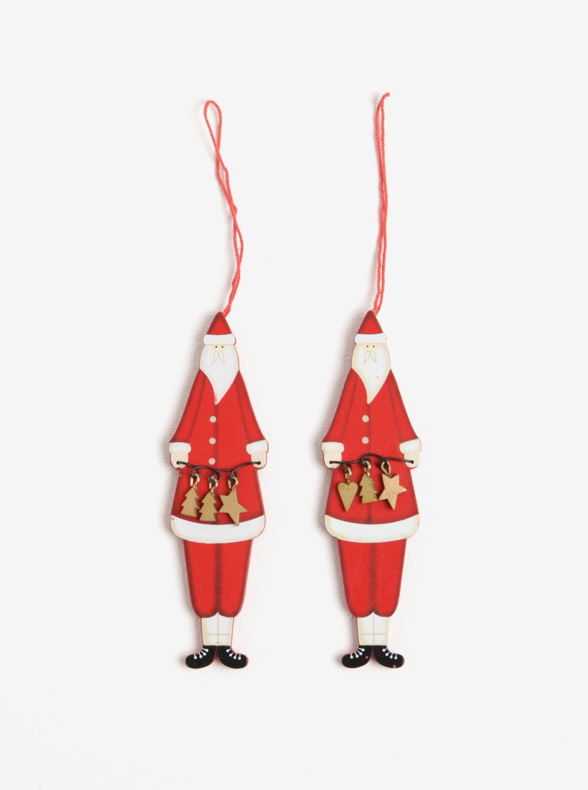 Sada dvou červených dřevěných ozdob ve tvaru Santa Clause Sass & Belle Nordic Santa