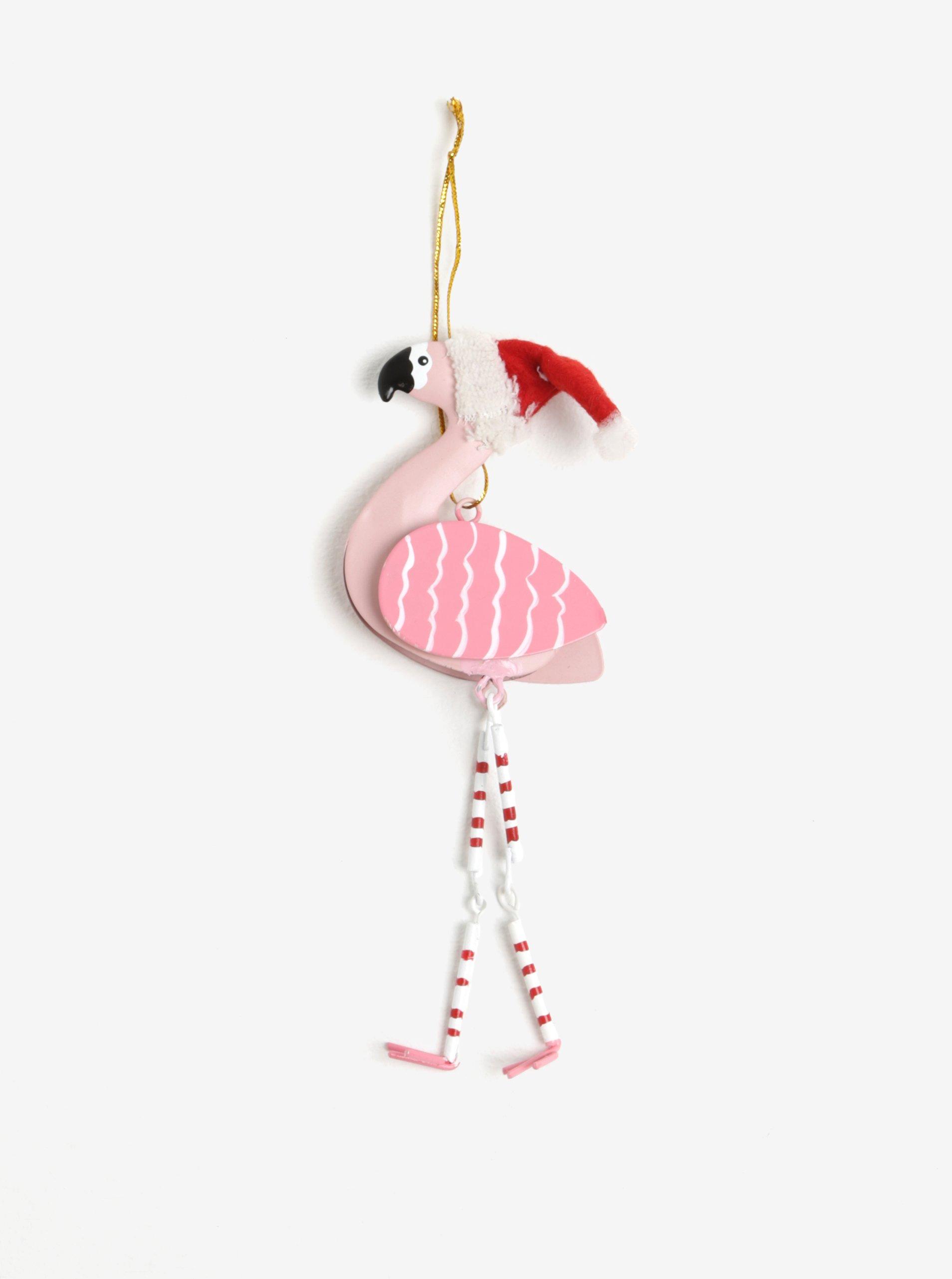 Růžová závěsná dekorace ve tvaru plameňáka Sass & Belle Festive Flamingo