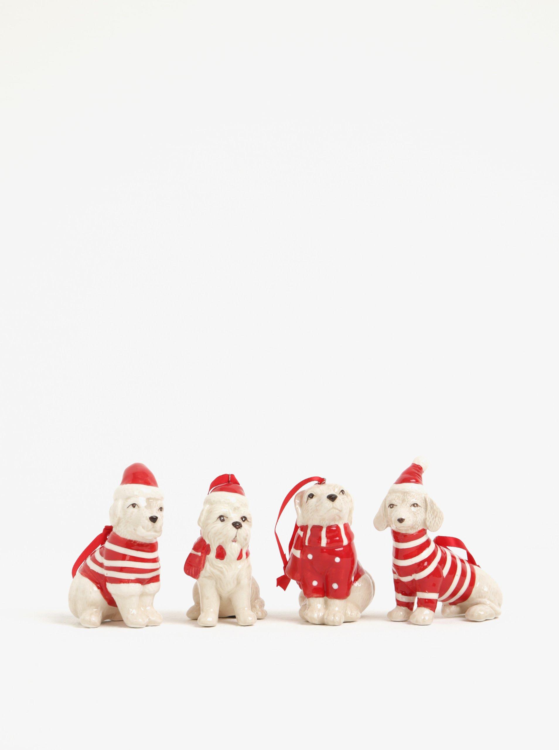Súprava štyroch béžovo-červených keramických ozdôb v tvare psov Kaemingk