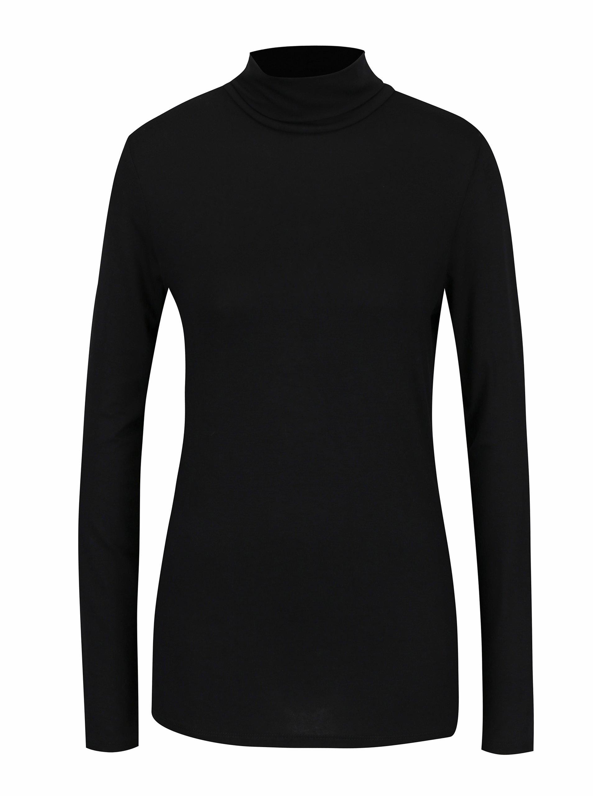 Černé tričko s rolákem Dorothy Perkins - Akční cena  76a0b29274