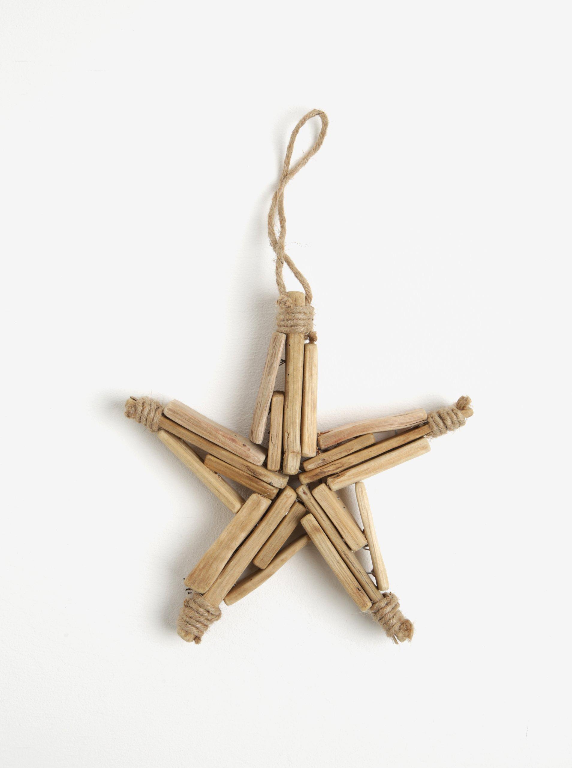 Hnědá dřevěná závěsná hvězda Kaemingk