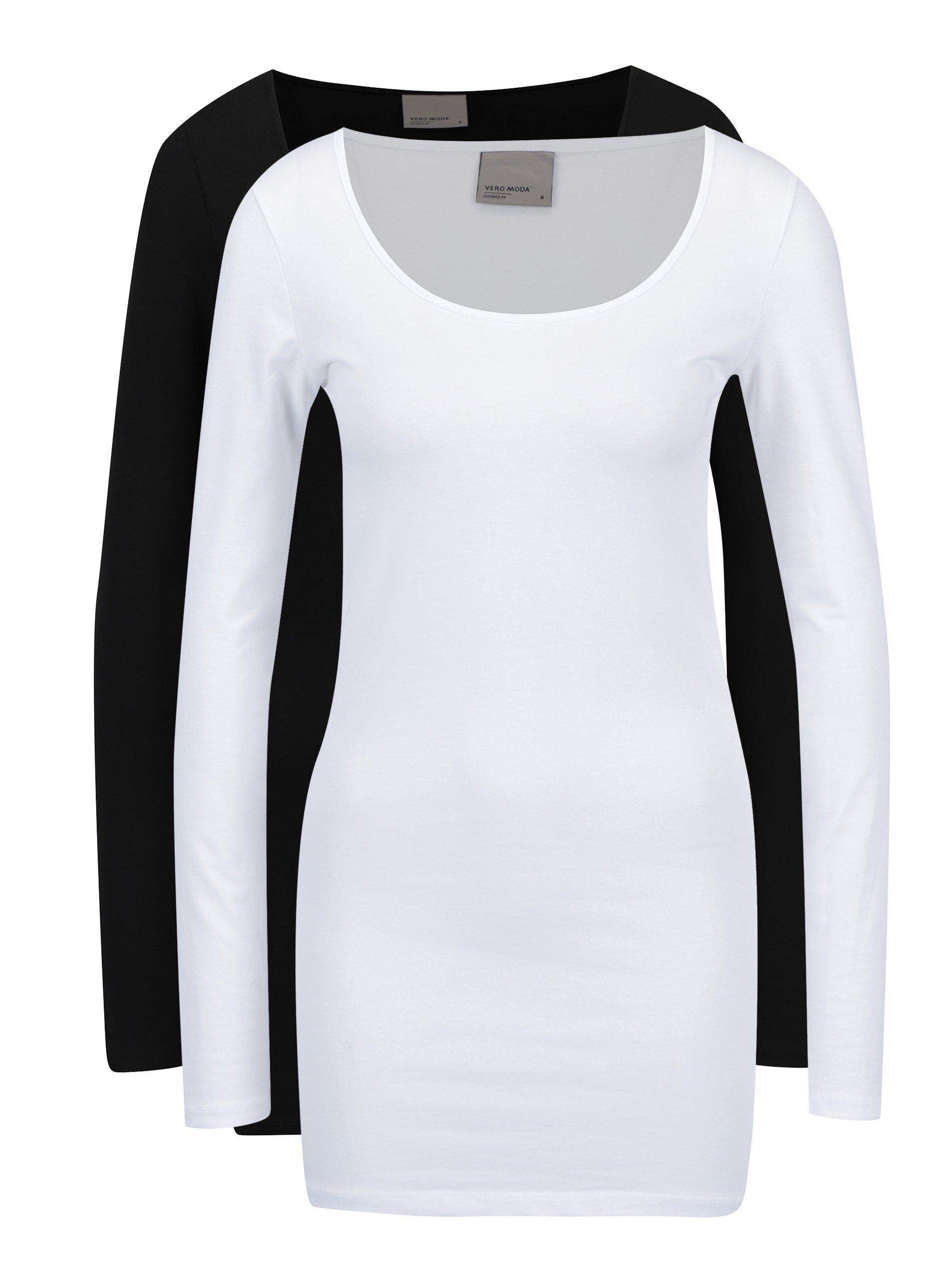 ffdc1c6670f6 Sada dvou dlouhých triček v černé a bílé barvě VERO MODA