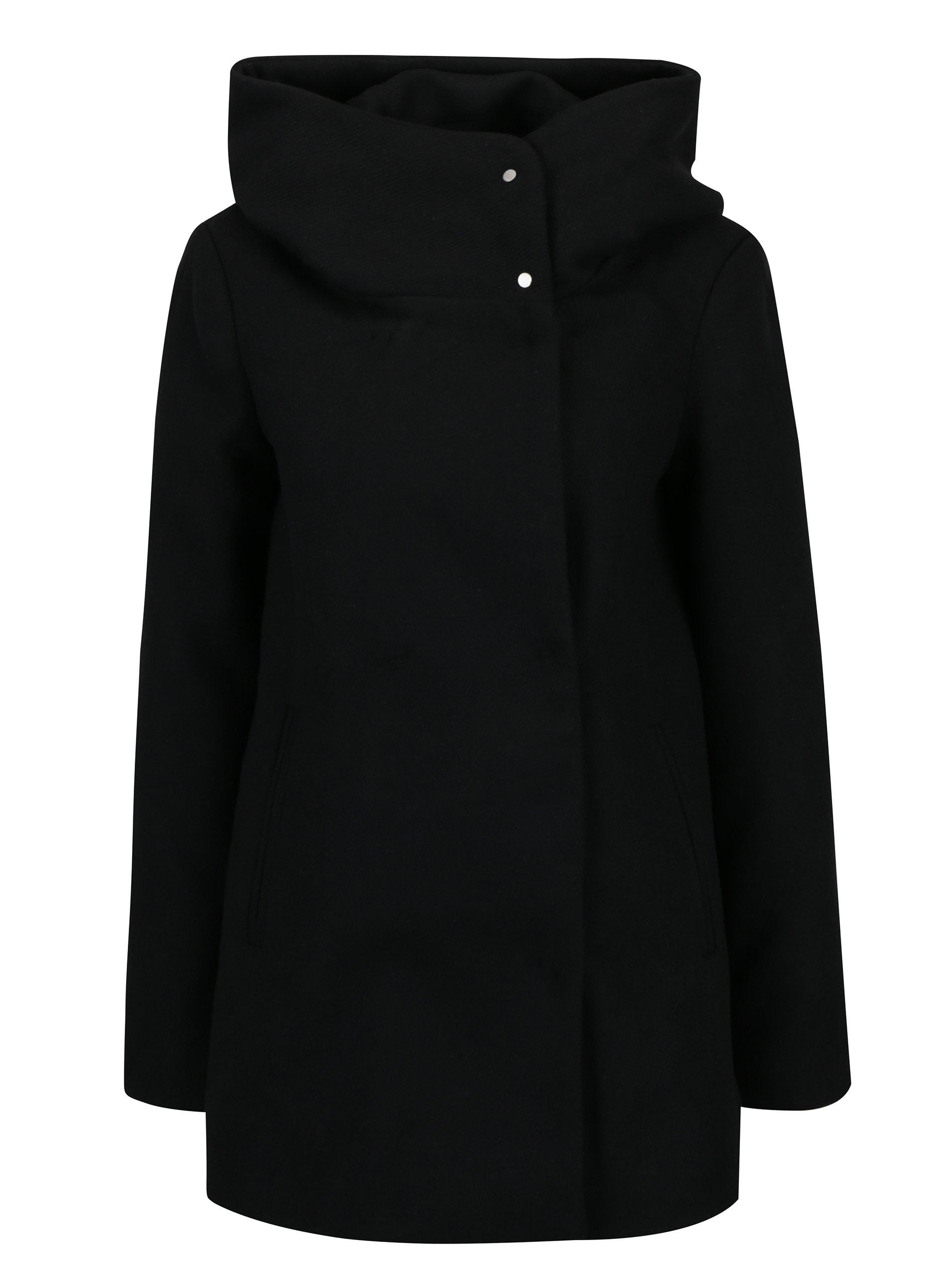 Čierny kabát s prímesou vlny VERO MODA