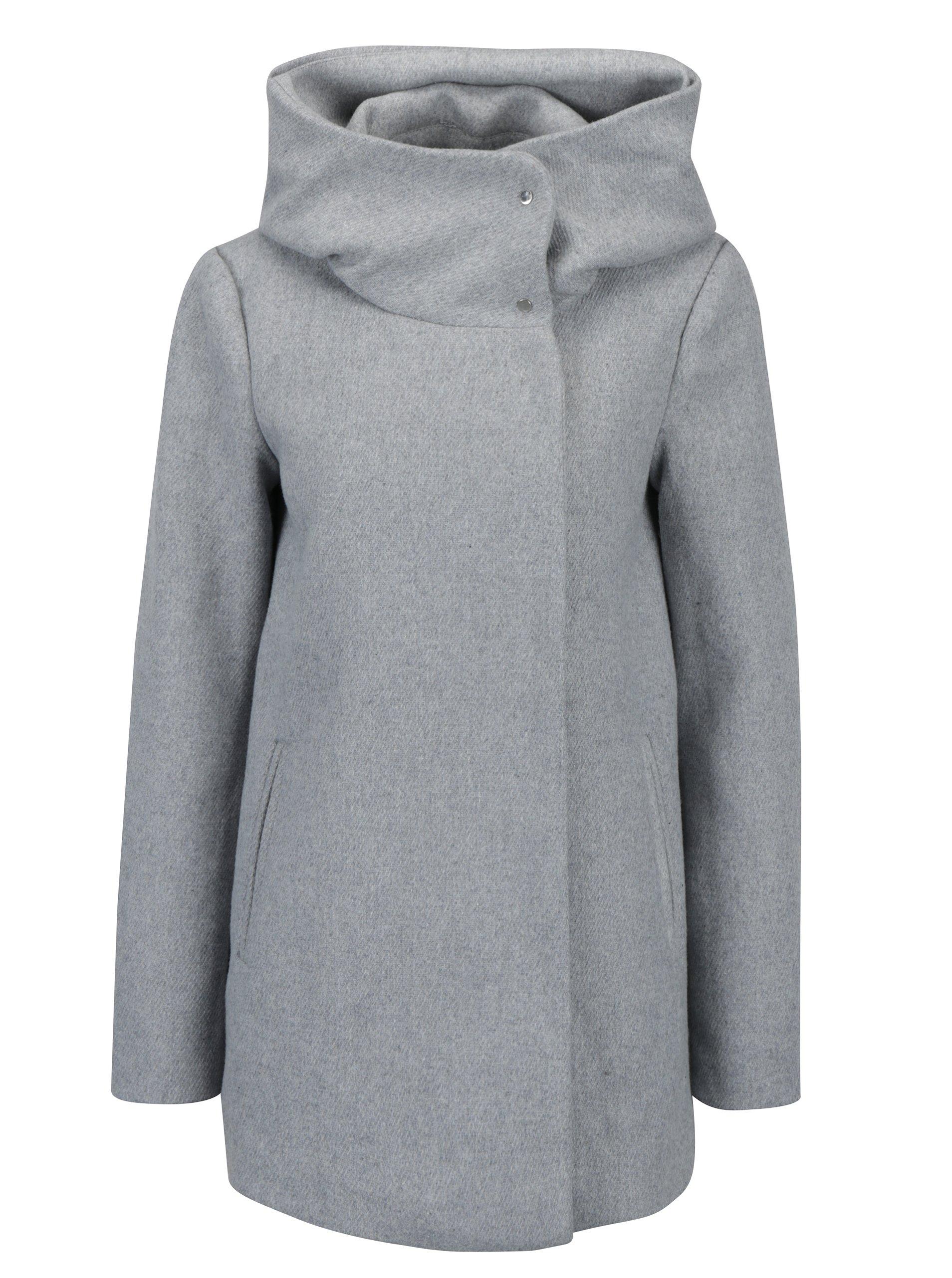 Svetlosivý kabát s prímesou vlny VERO MODA