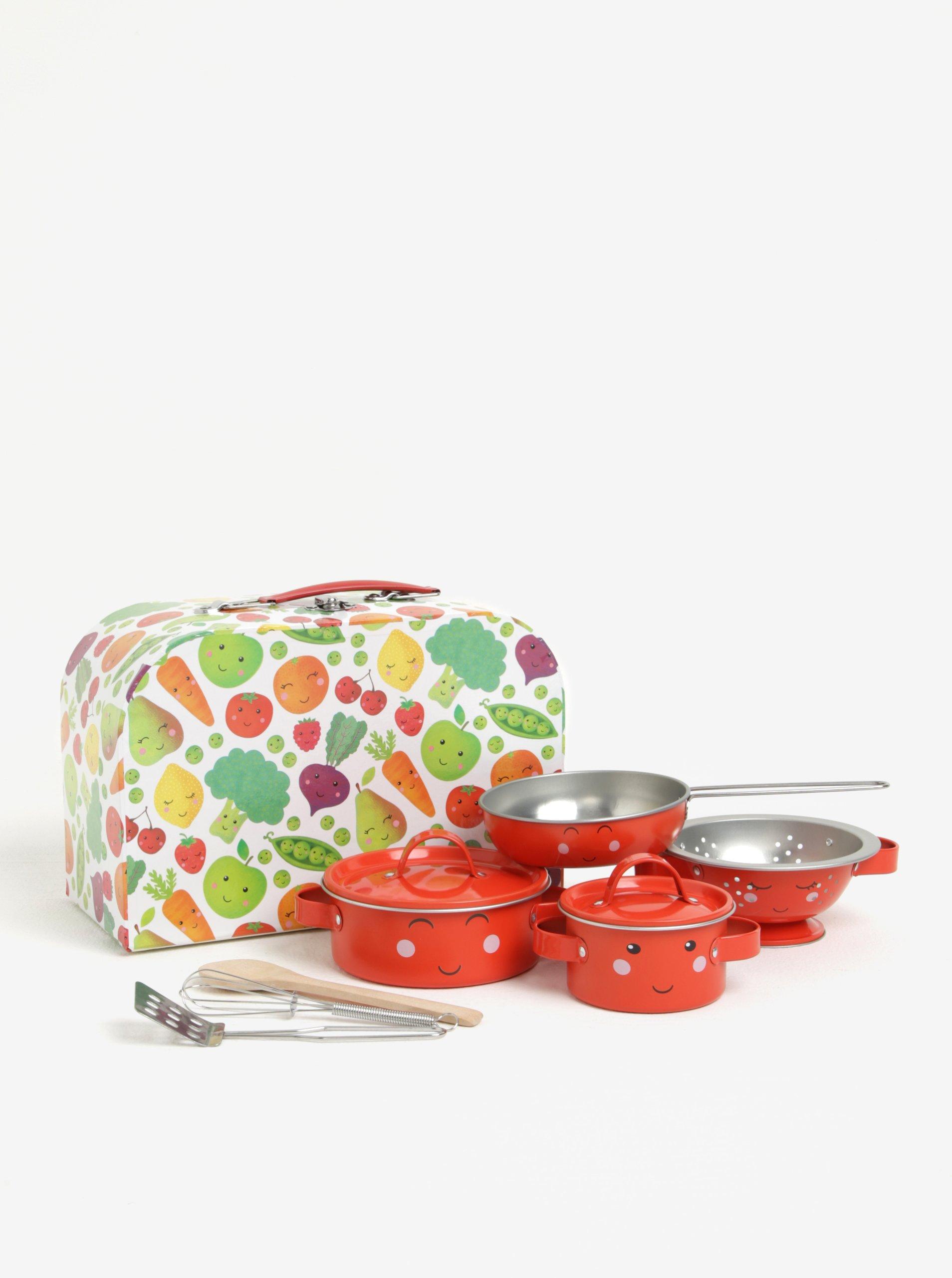 Dětský kuchyňský set v oranžovo-zelené barvě s motivem ovoce a zeleniny Sass & Belle Happy Fruit & Veg