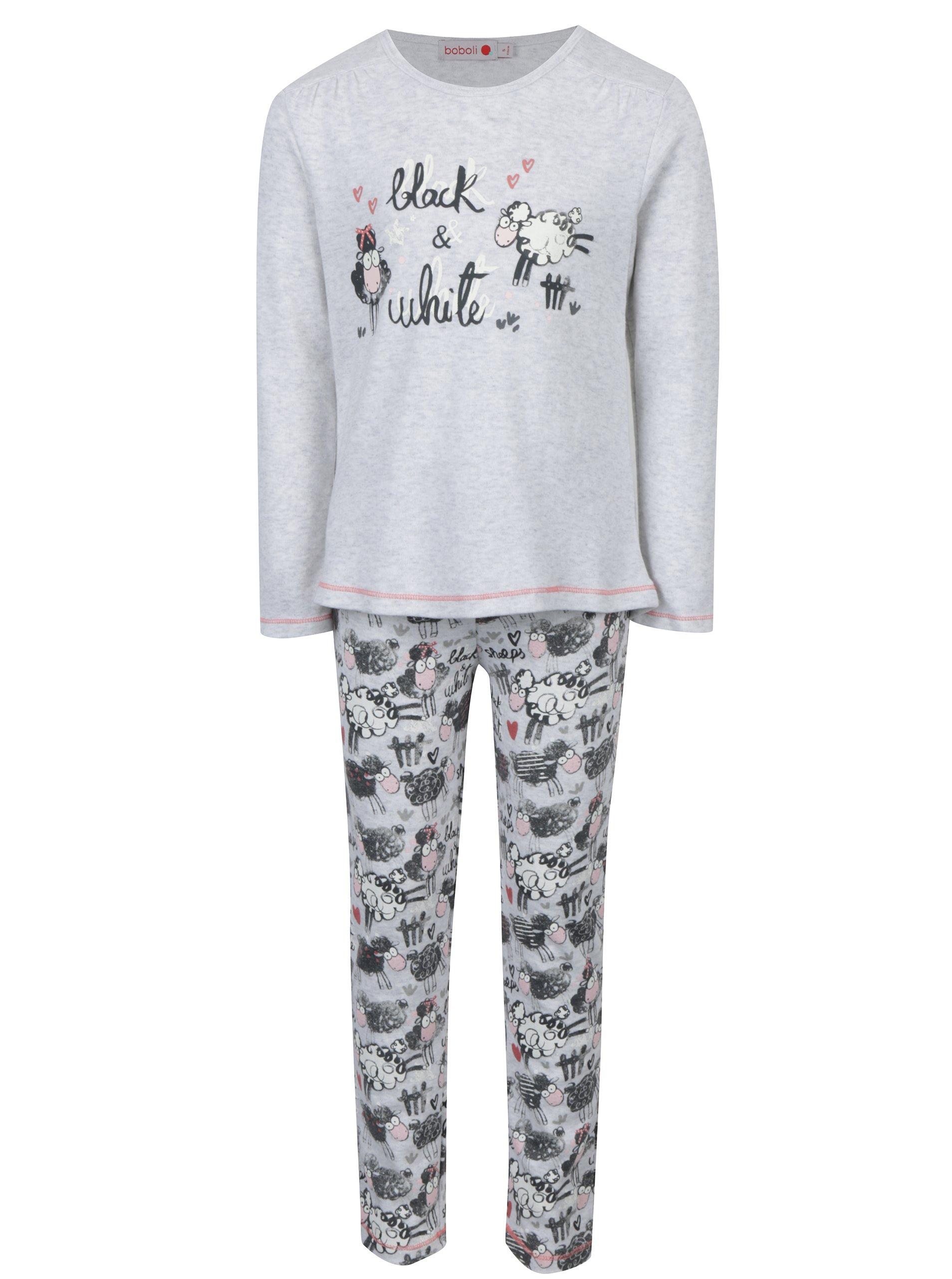Šedé holčičí vzorované pyžamo s dlouhým rukávem BÓBOLI