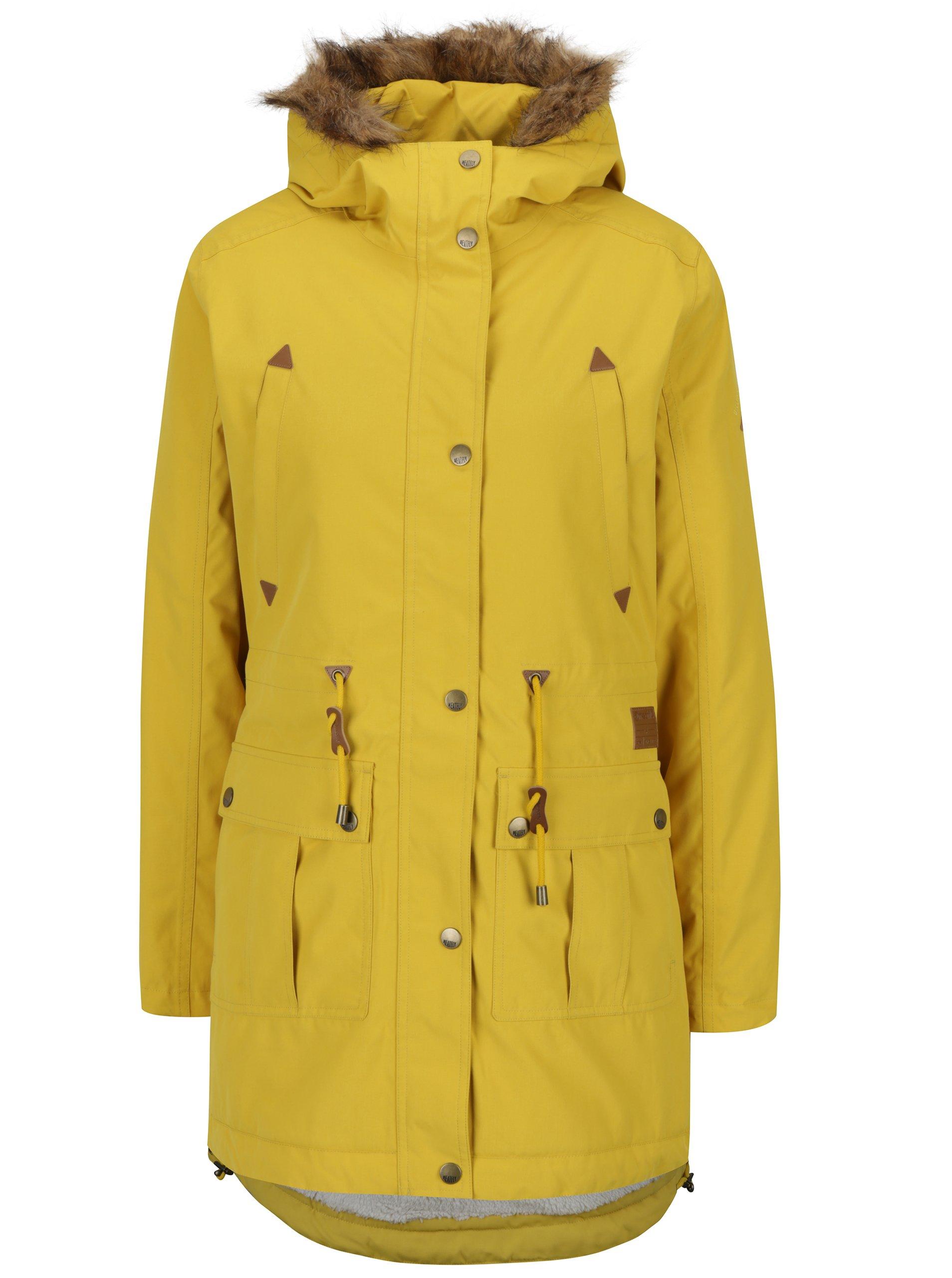 Žlutá dámská zimní voděodolná parka MEATFLY Rainy 2