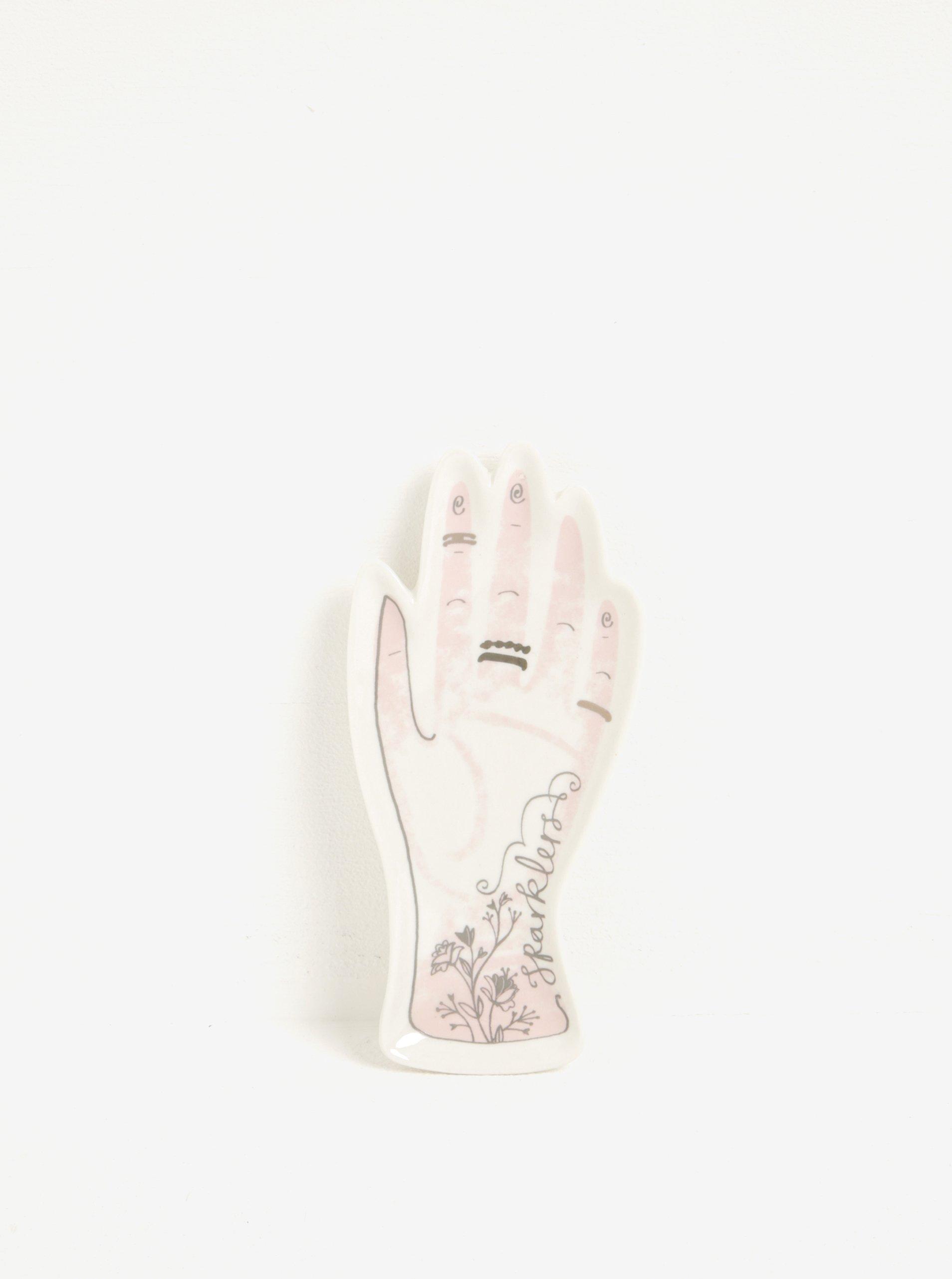 Krémová keramická miska na šperky ve tvaru ruky Disaster Over The Moon Hand