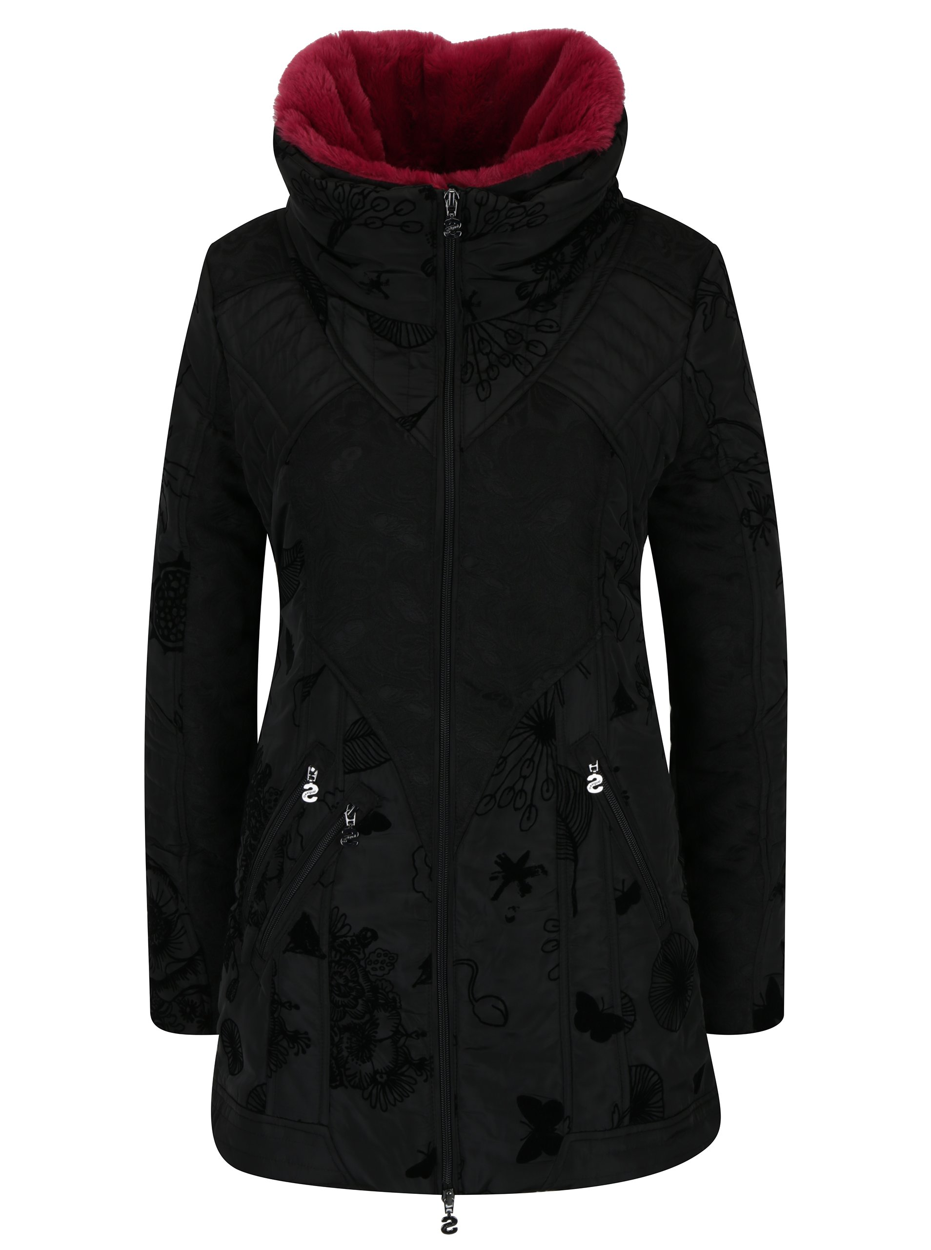 Černý kabát s vysokým límcem a odnímatelnou umělou kožešinou Desigual Bratislava