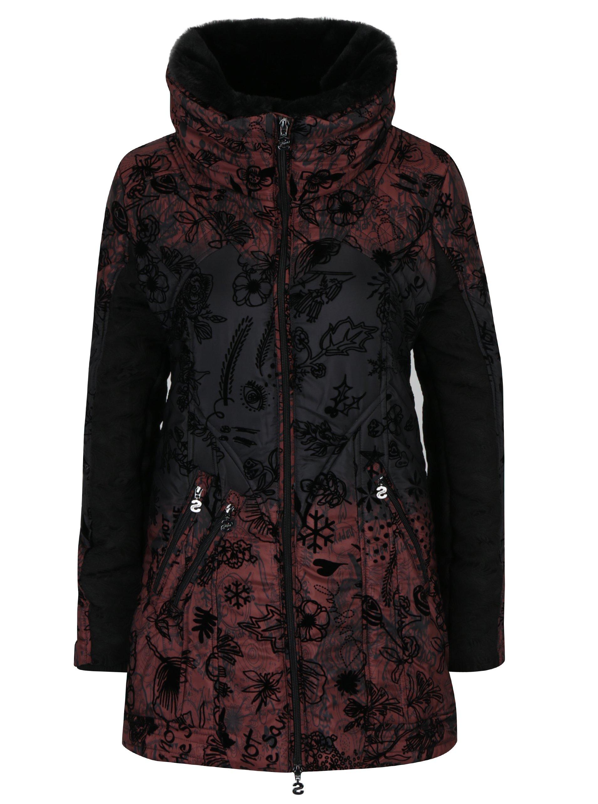 Černo-vínový kabát s vysokým límcem a odnímatelnou kožešinou Desigual Bratislava