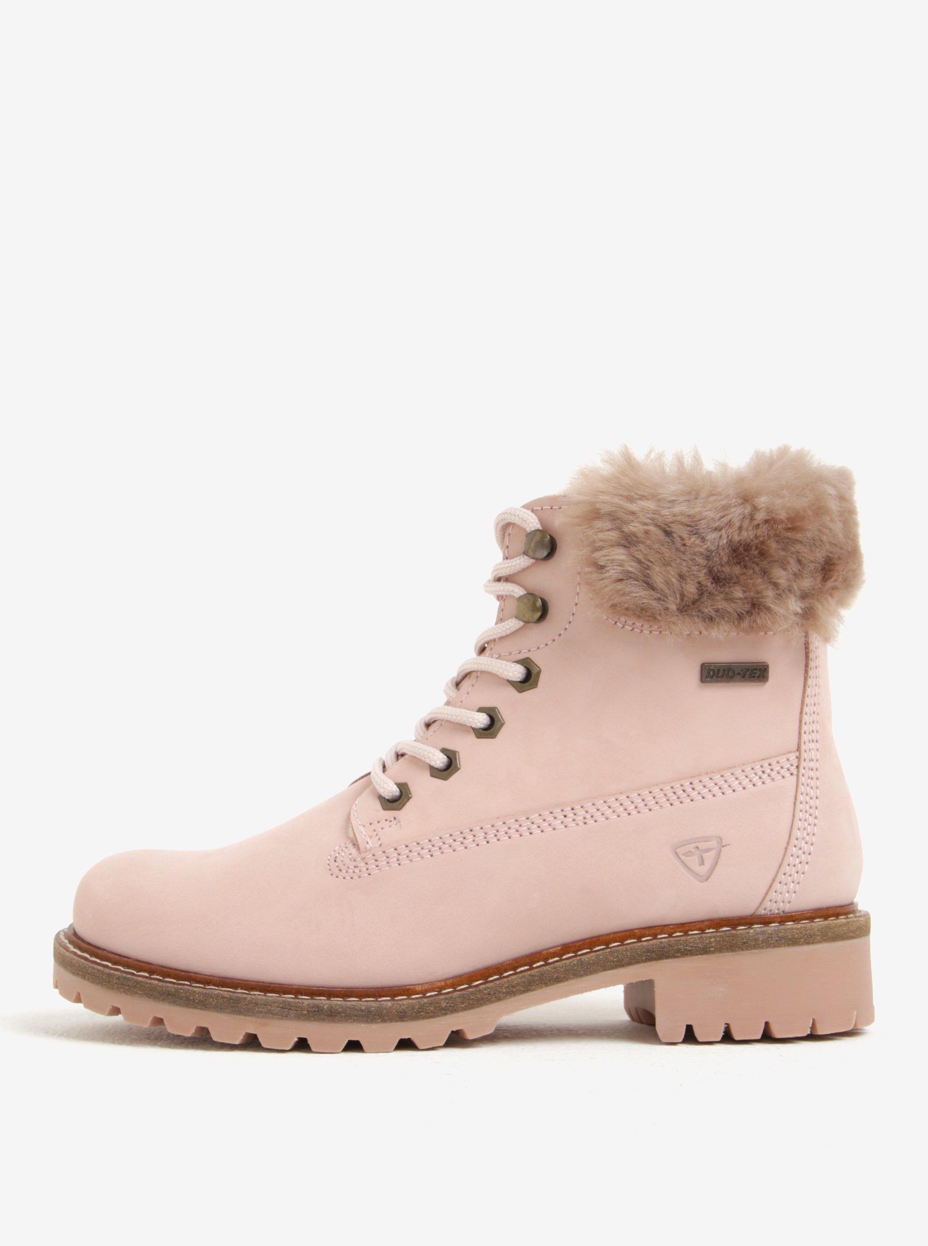 Růžové voděodpudivé zimní kožené kotníkové boty s vlněnou pošívkou Tamaris