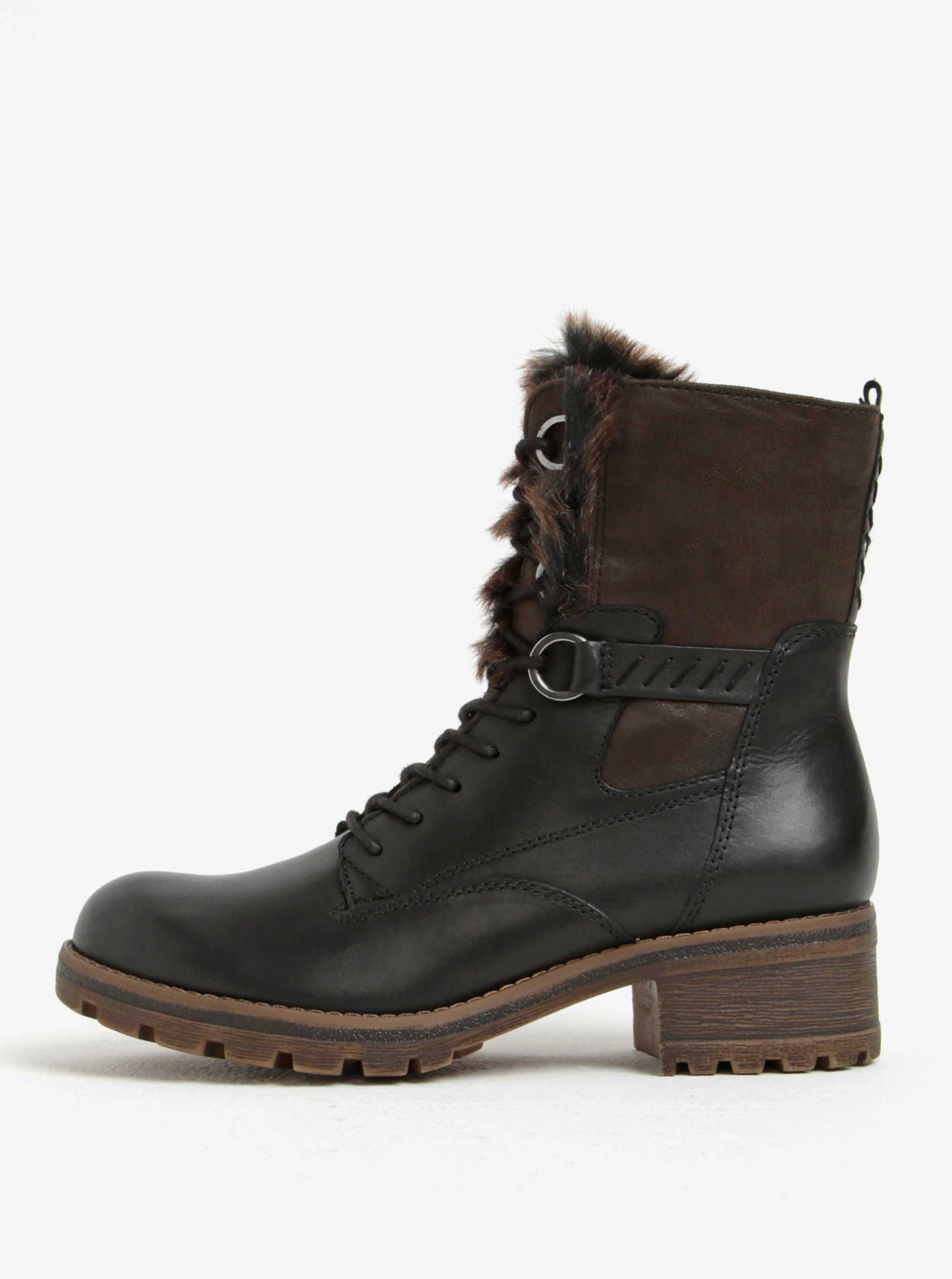 Hnědo-černé zimní kožené kotníkové boty Tamaris