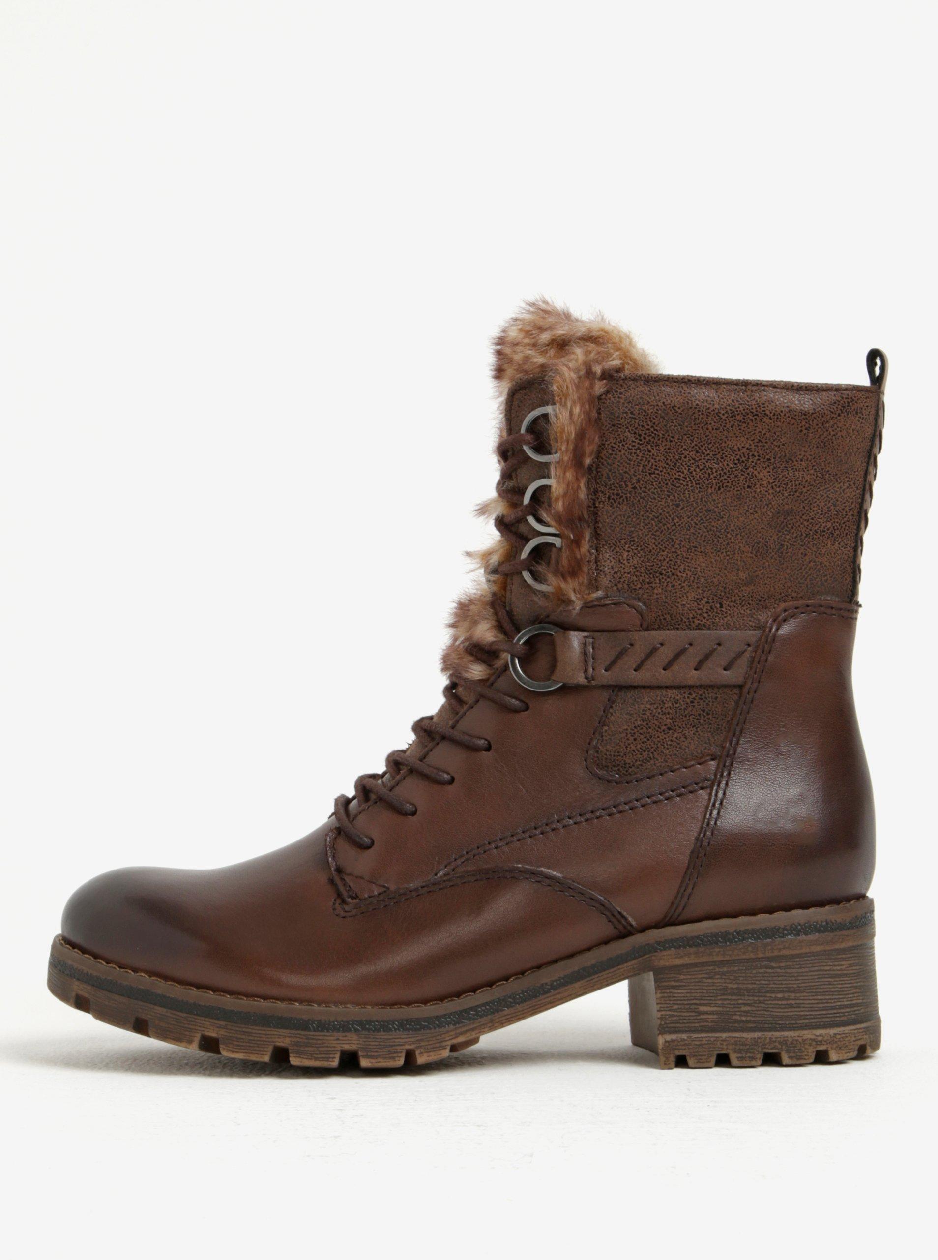 Tmavě hnědé zimní kožené kotníkové boty Tamaris