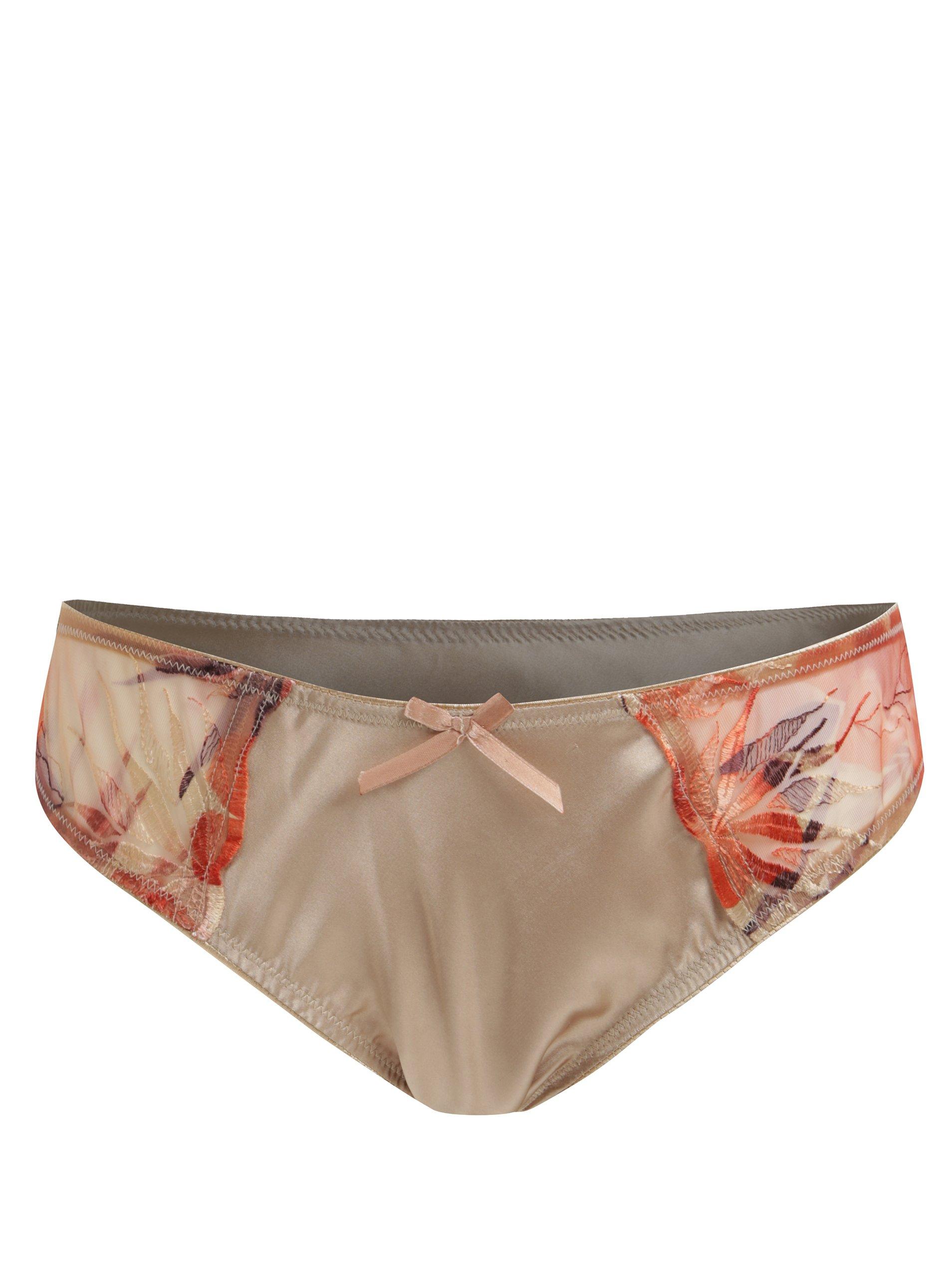 Béžové vyšívané kalhotky Eden Lingerie
