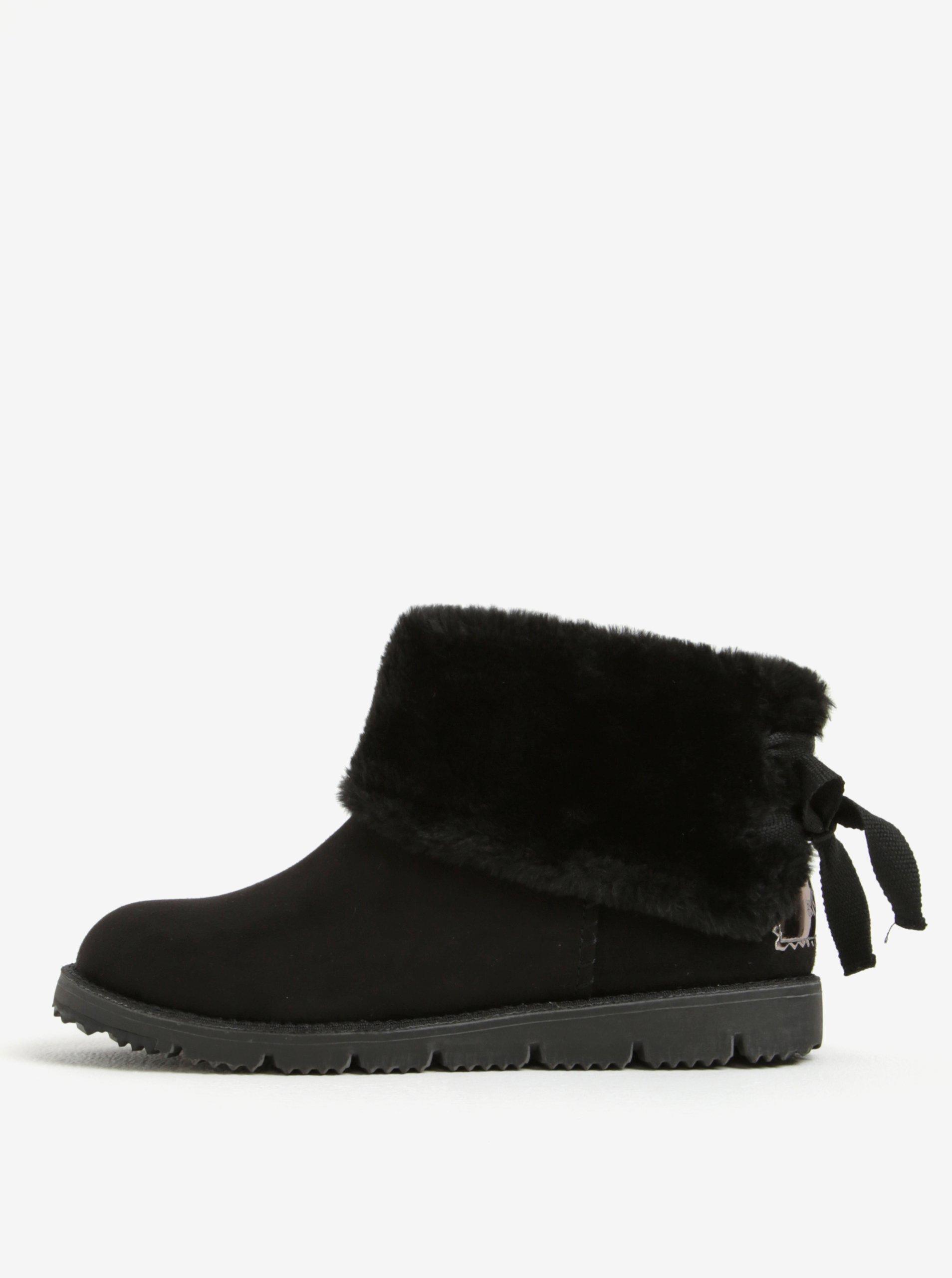 Černé dámské zimní kotníkové boty v semišové úpravě s.Oliver