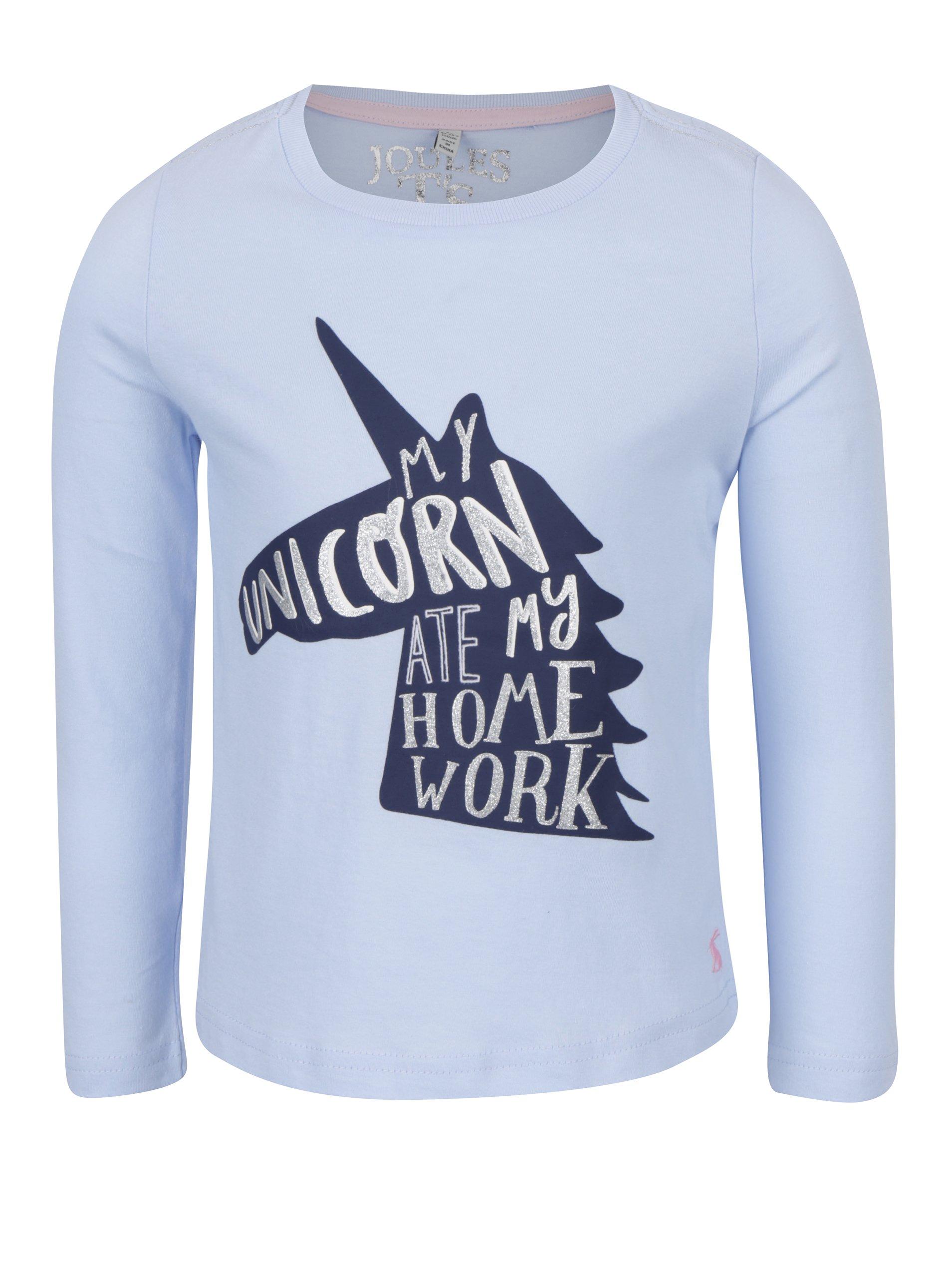 f44fe2a98716 Svetlomodré dievčenské tričko s jednorožcom Tom Joule