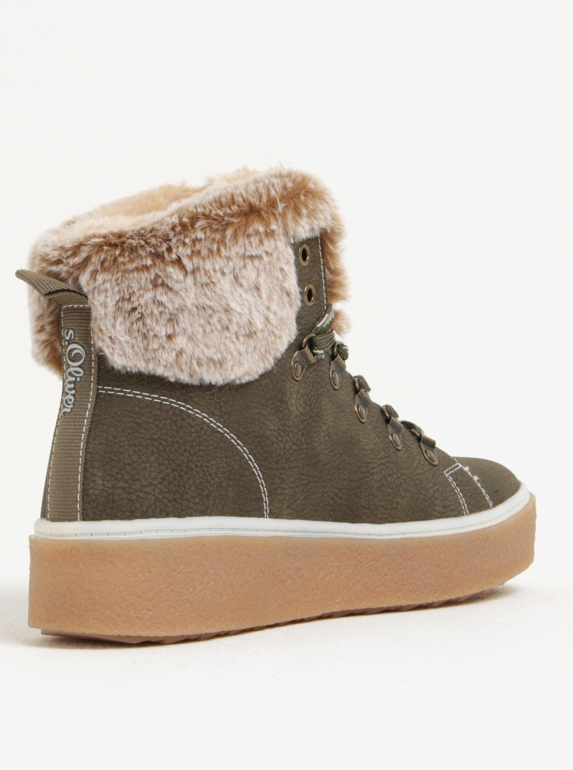 Khaki dámské kotníkové zimní boty na platformě s.Oliver - Akční cena ... 174ed80717