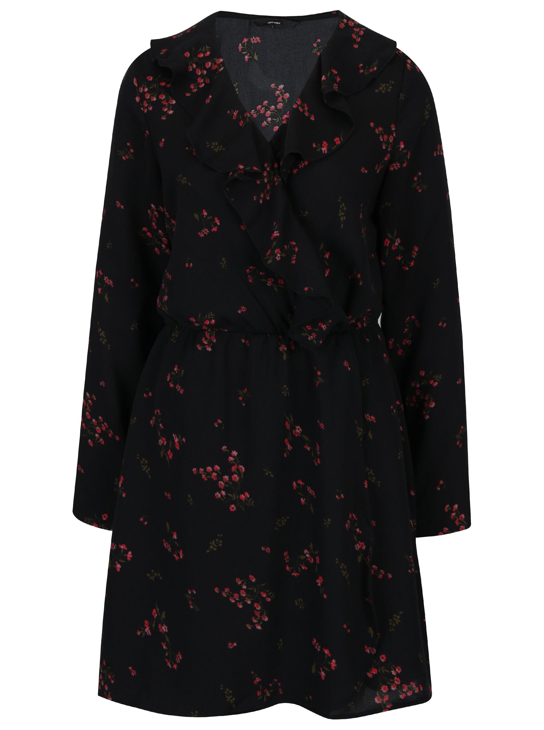 Černé květované šaty s volánem VERO MODA Parisan
