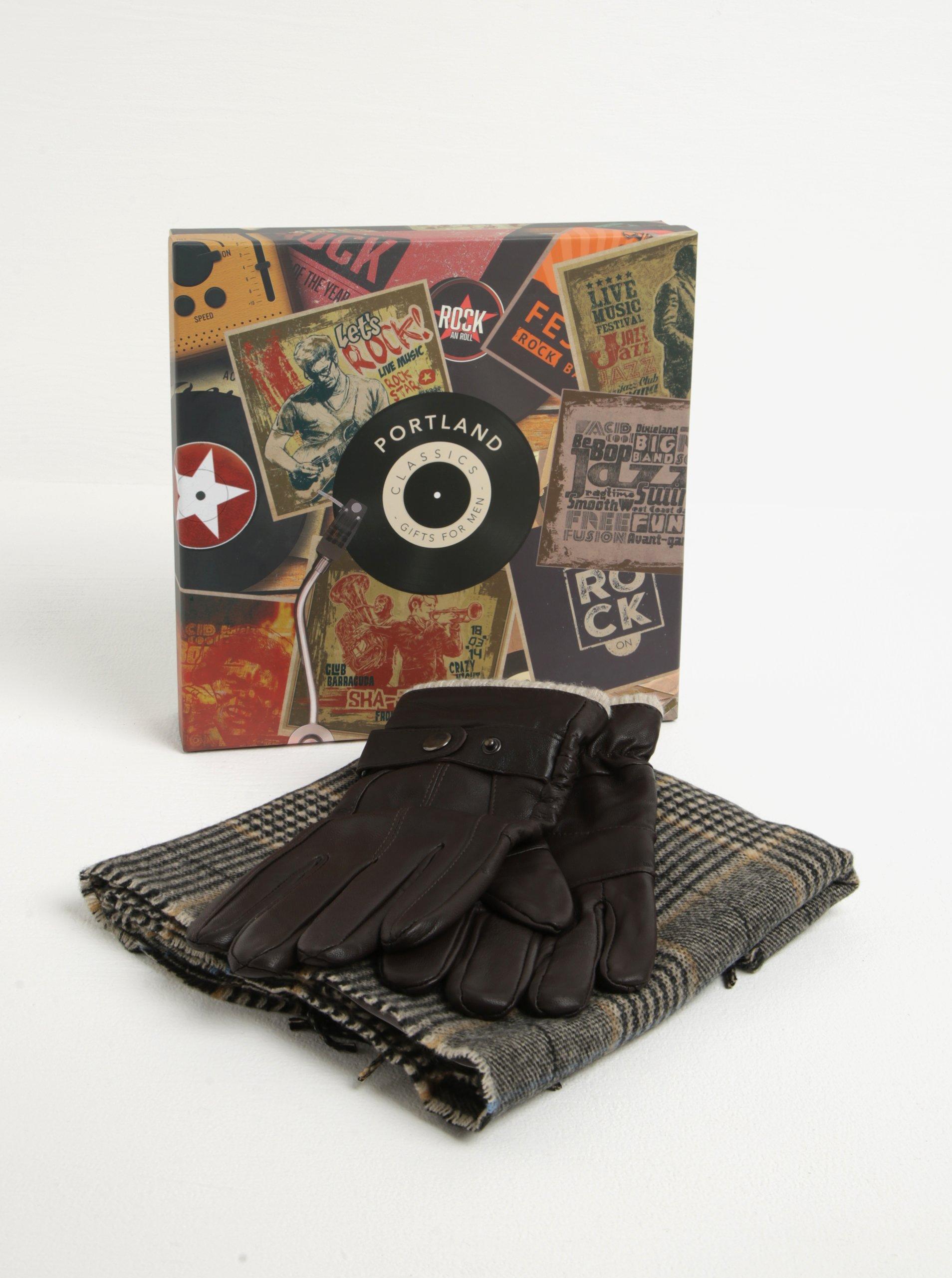 Pánský dárkový set hnědých kožených rukavic a šály Portland