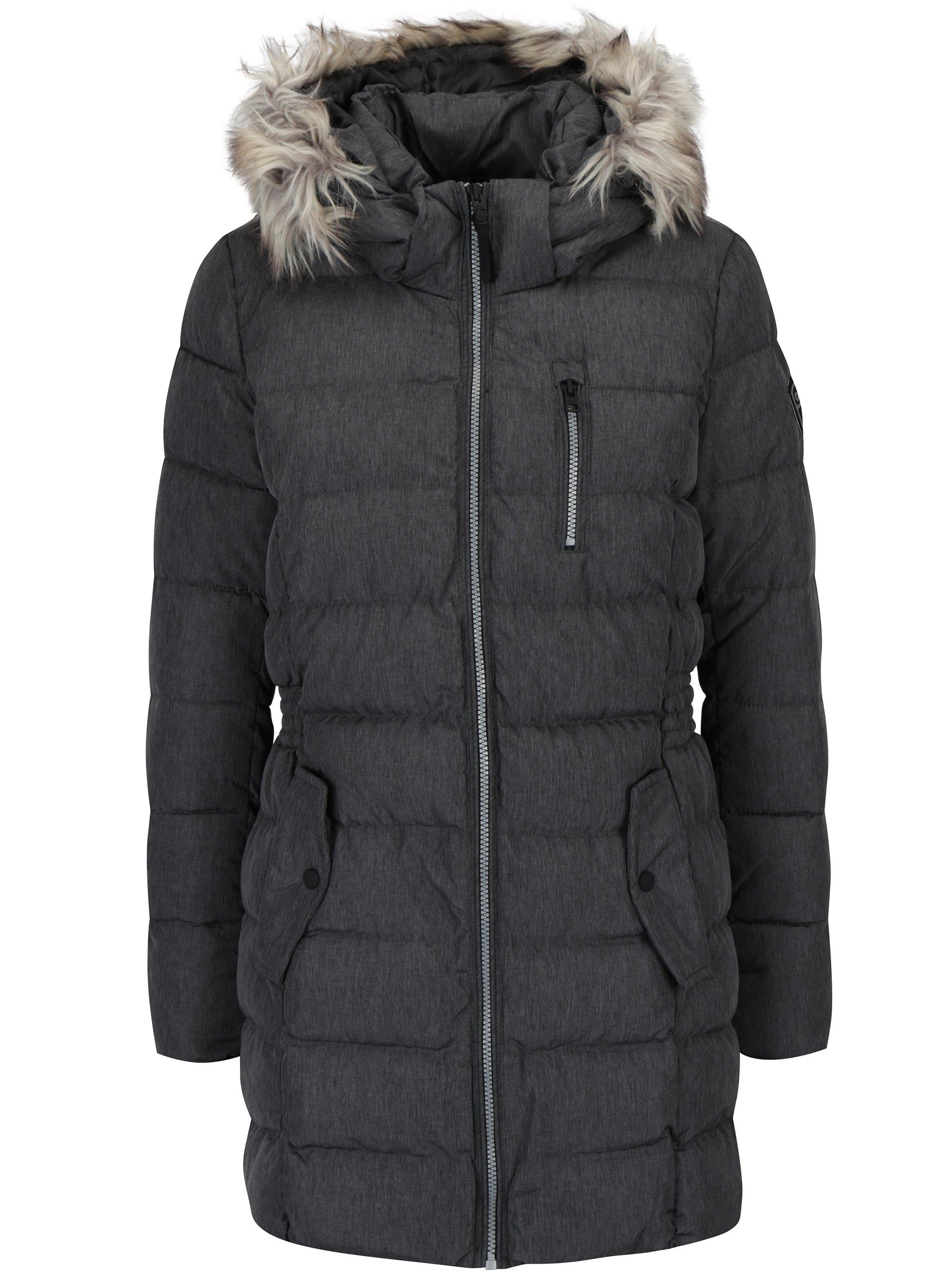 Šedý prošívaný kabát s kapucí ONLY Dana