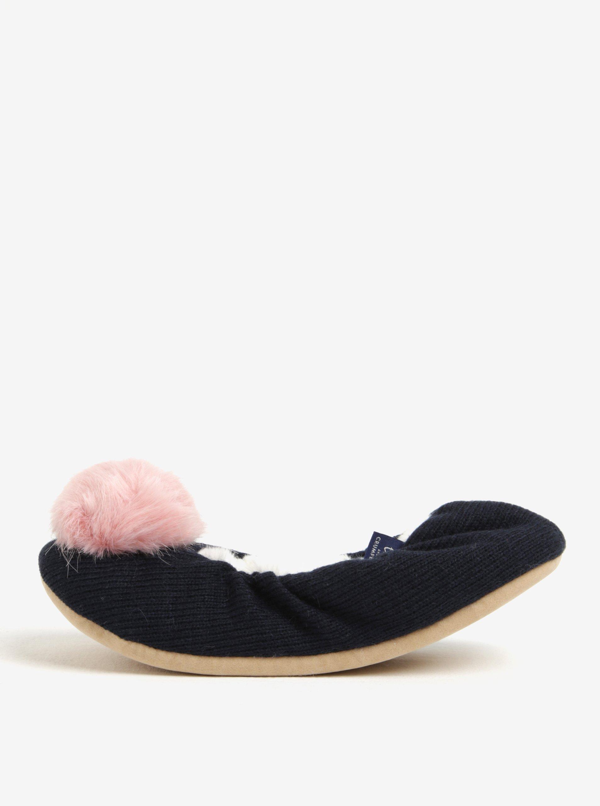 Tmavě modré papuče s bambulkou Tom Joule