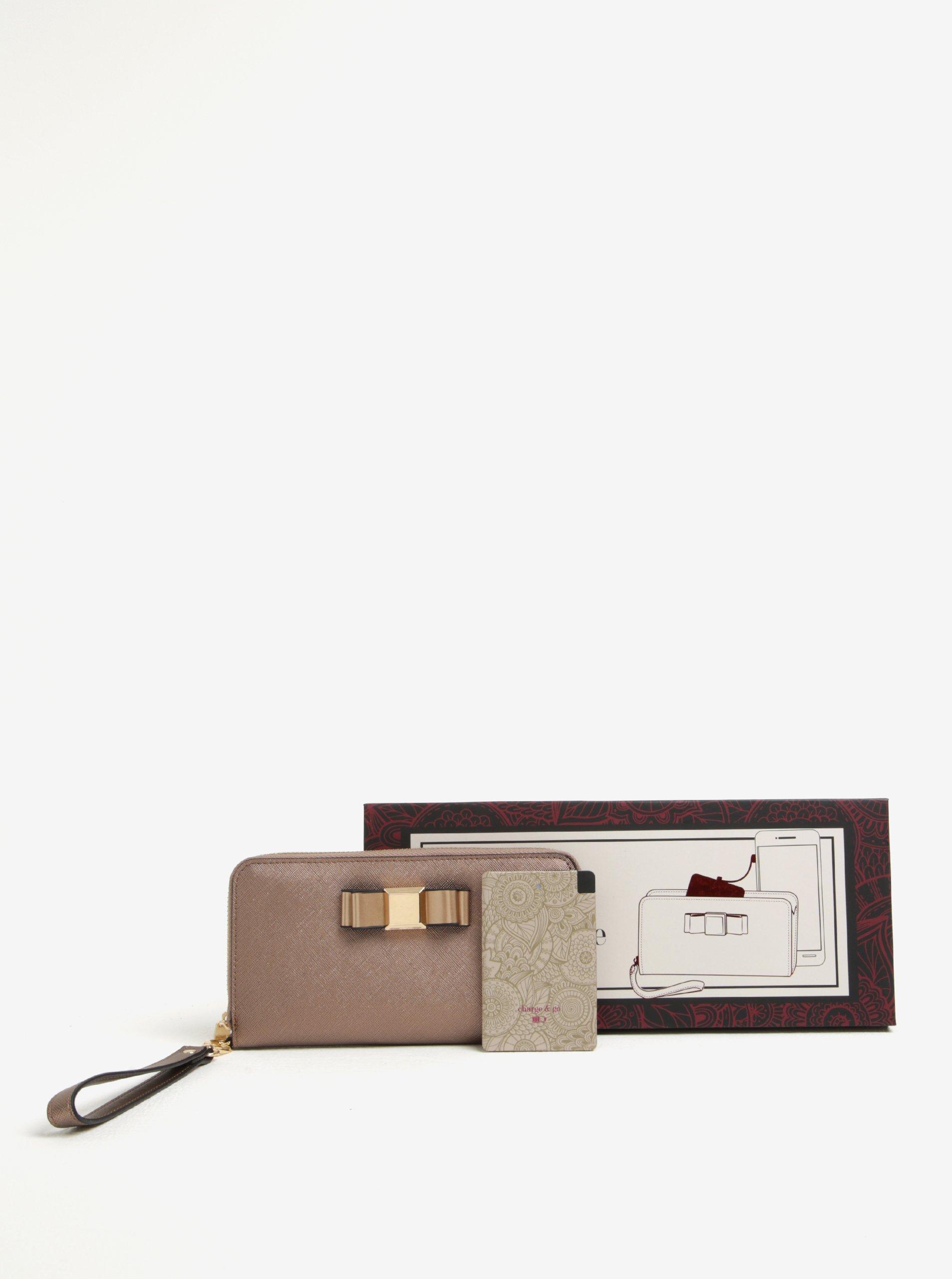 Dárkový set dámské peněženky v bronzové barvě a power banky Something Special