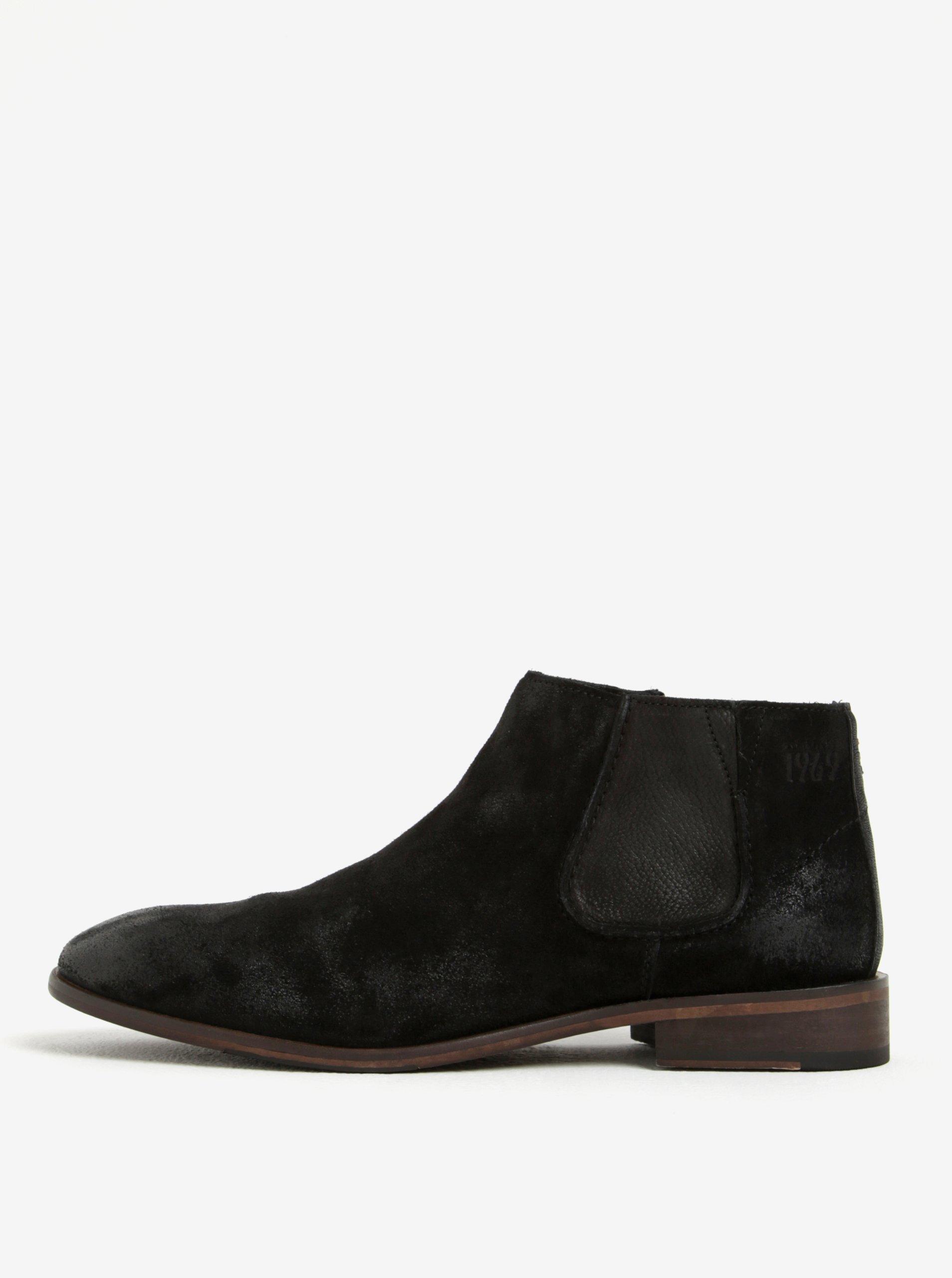 Černé pánské kožené chelsea boty s.Oliver