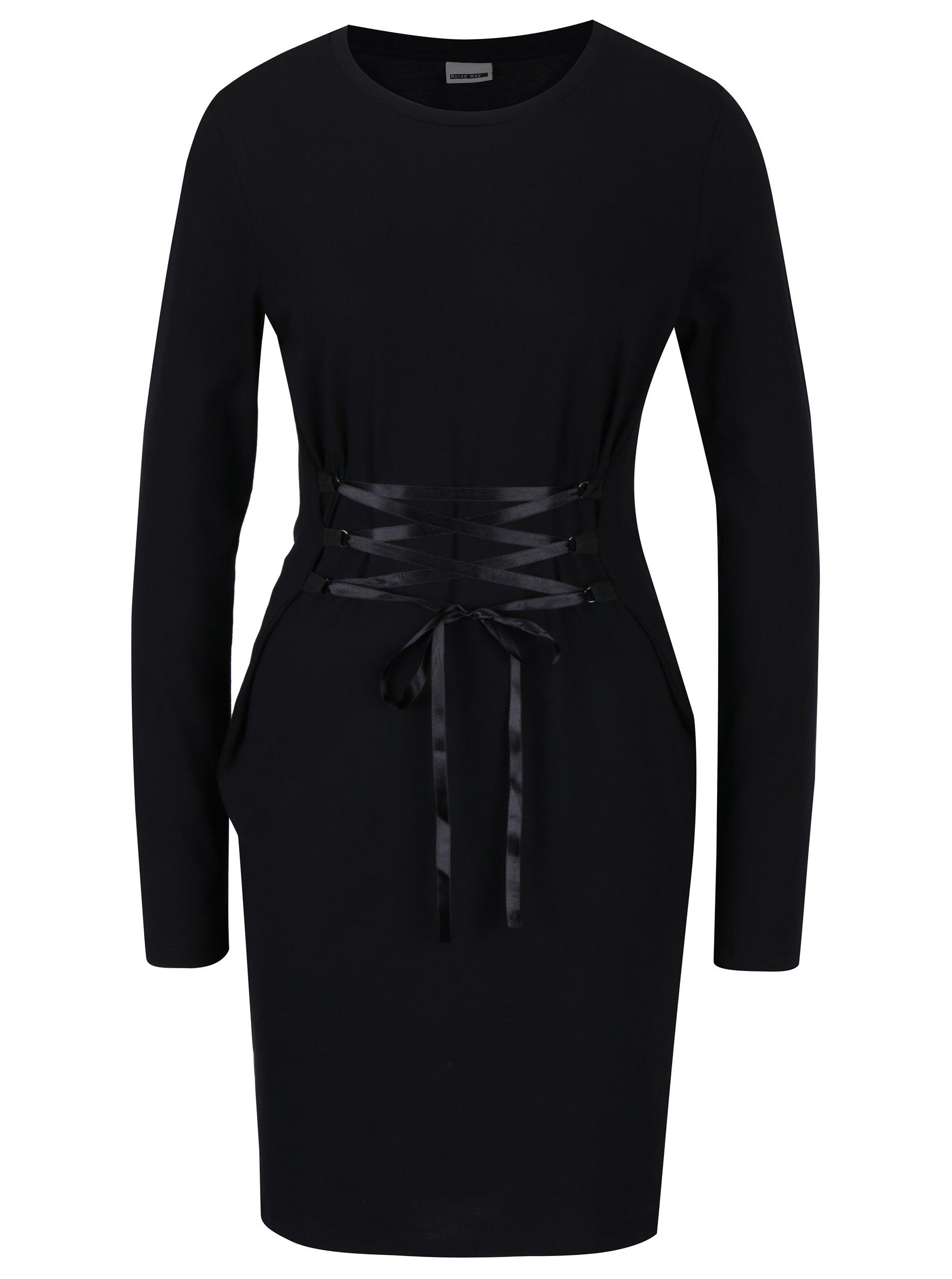 Černé šaty s ozdobným šněrováním Noisy May Philippa