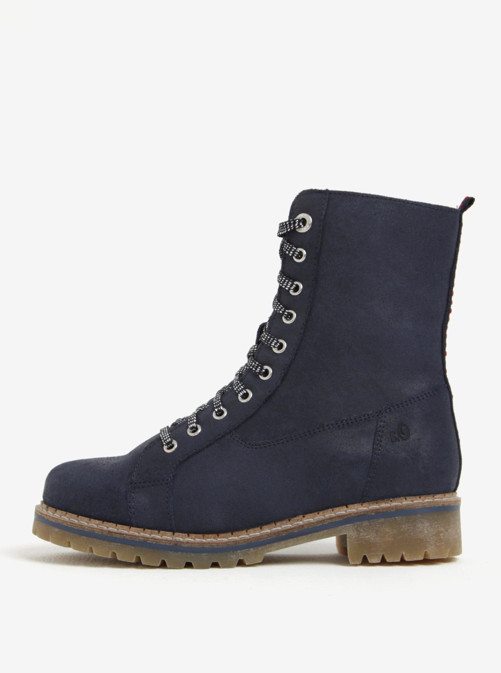 Tmavomodré dámske kožené zimné členkové topánky s.Oliver