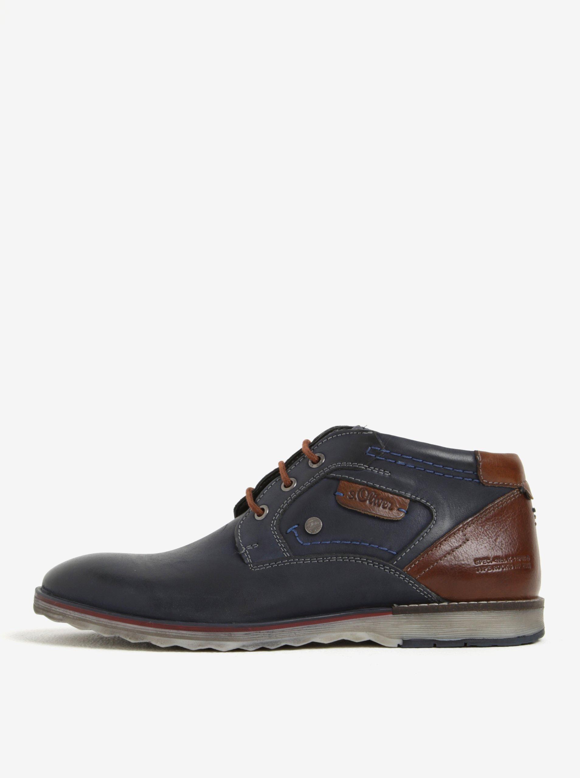 Tmavomodré pánske kožené členkové topánky s.Oliver
