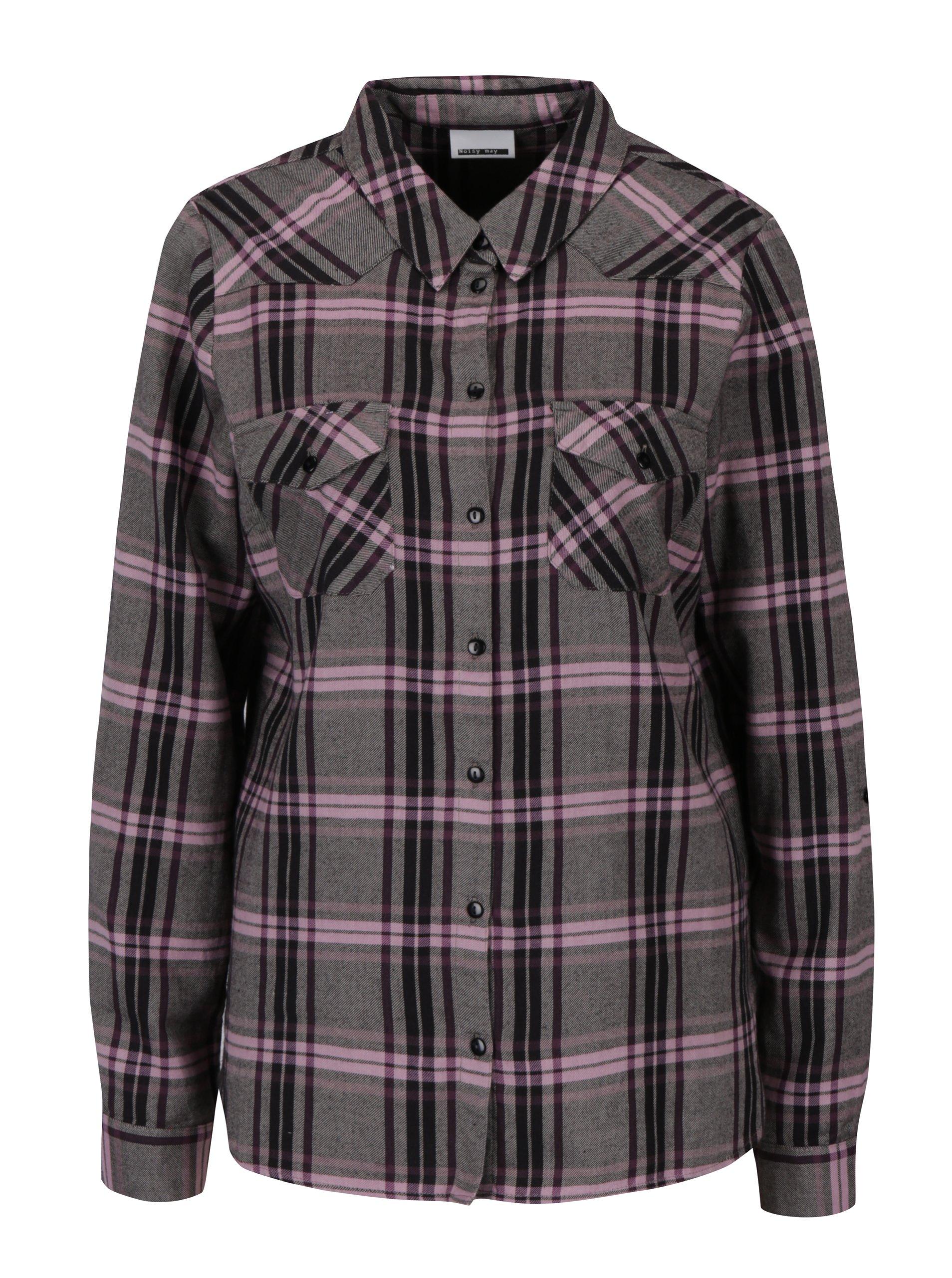 Ružovo-sivá károvaná košeľa Noisy May Erik