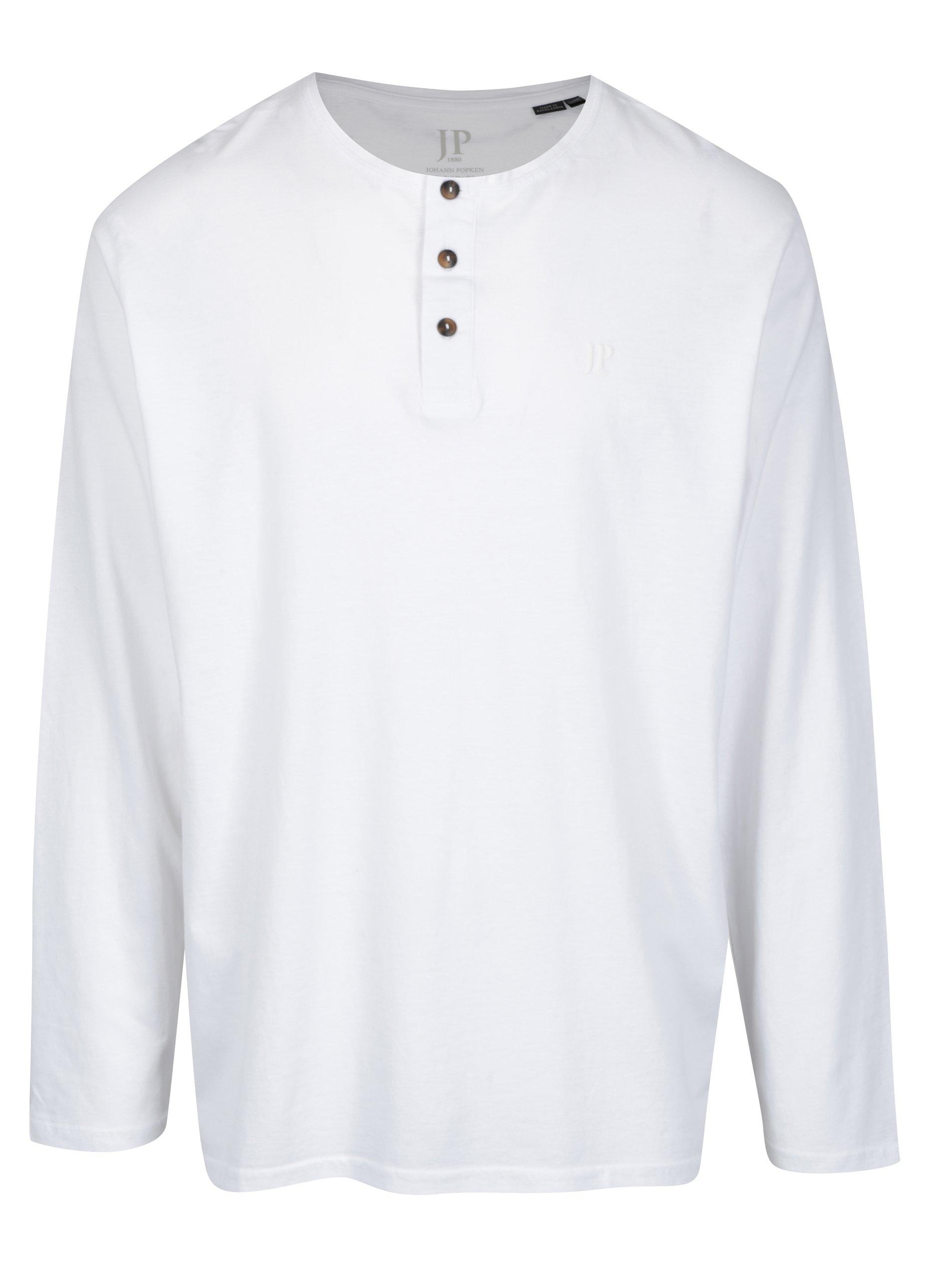 Bílé polo tričko s dlouhým rukávem a knoflíky JP 1880