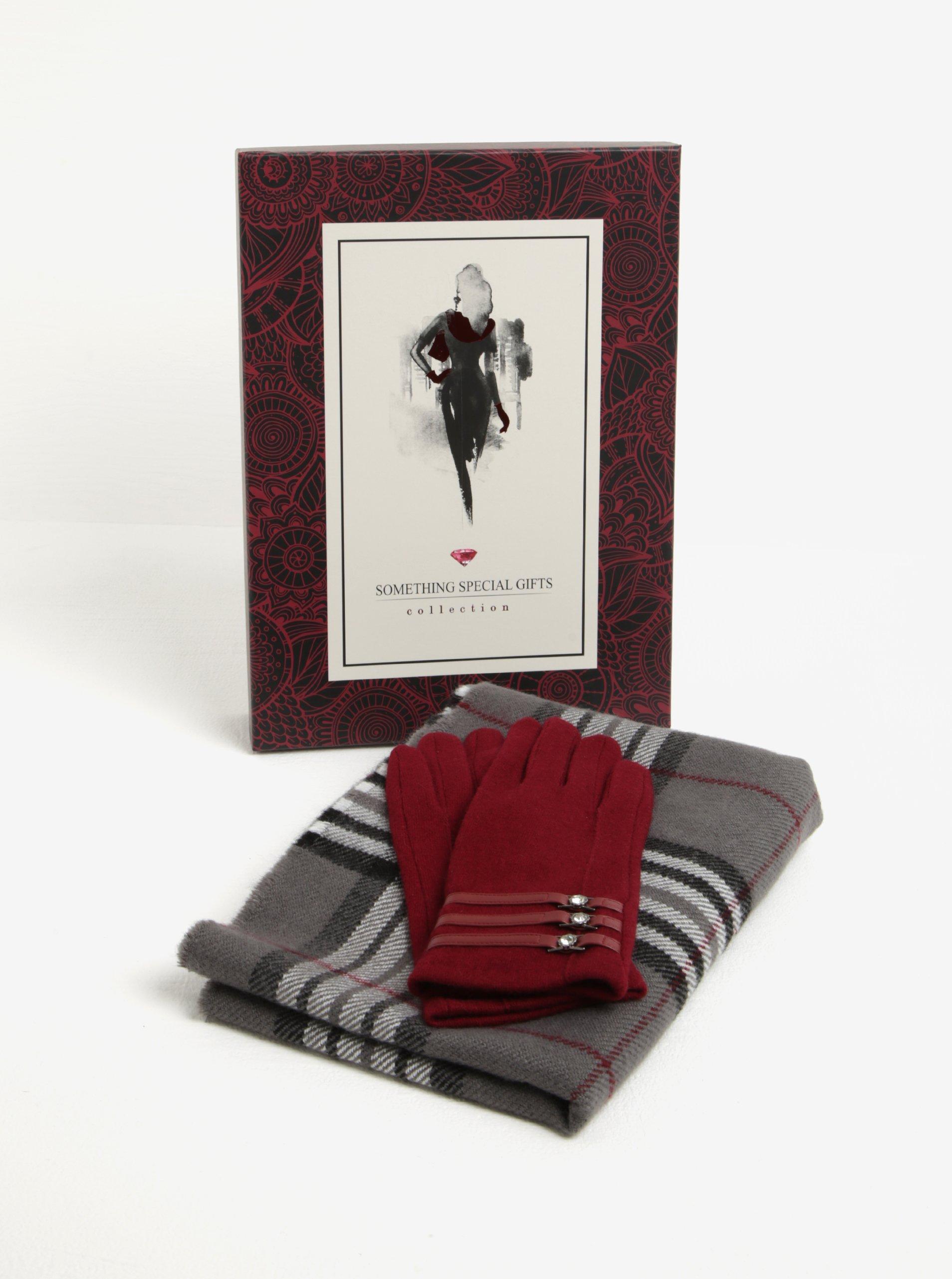 Vínovo-sivá dámska súprava vlnených rukavíc a šálu Something Special