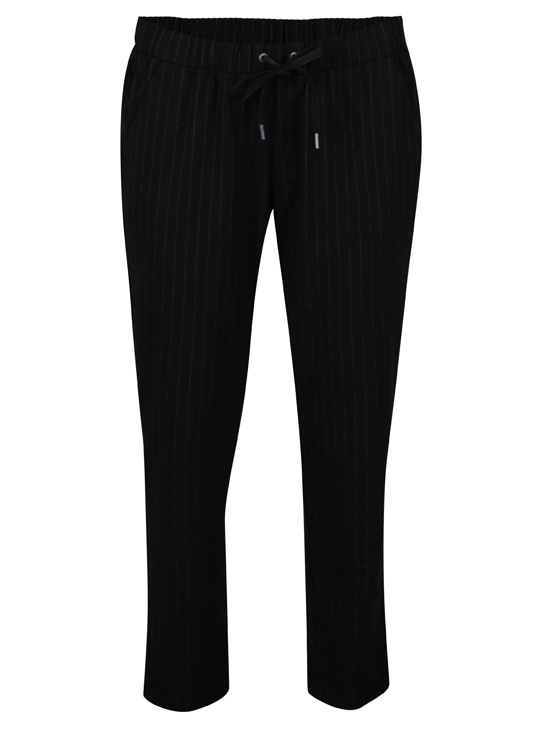 Černé dámské pruhované kalhoty s.Oliver