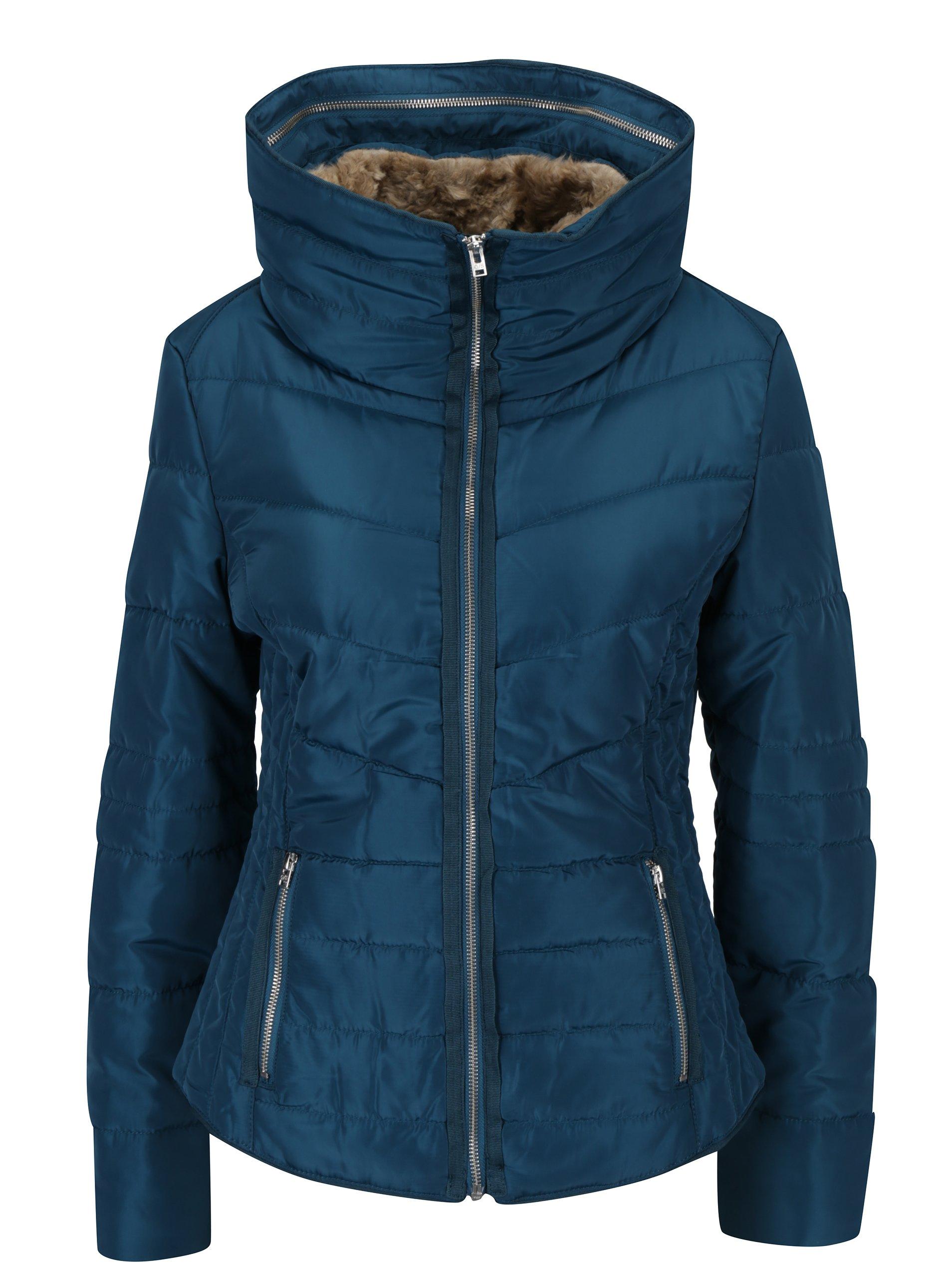 Tyrkysová dámská prošívaná bunda s vysokým límcem s.Oliver