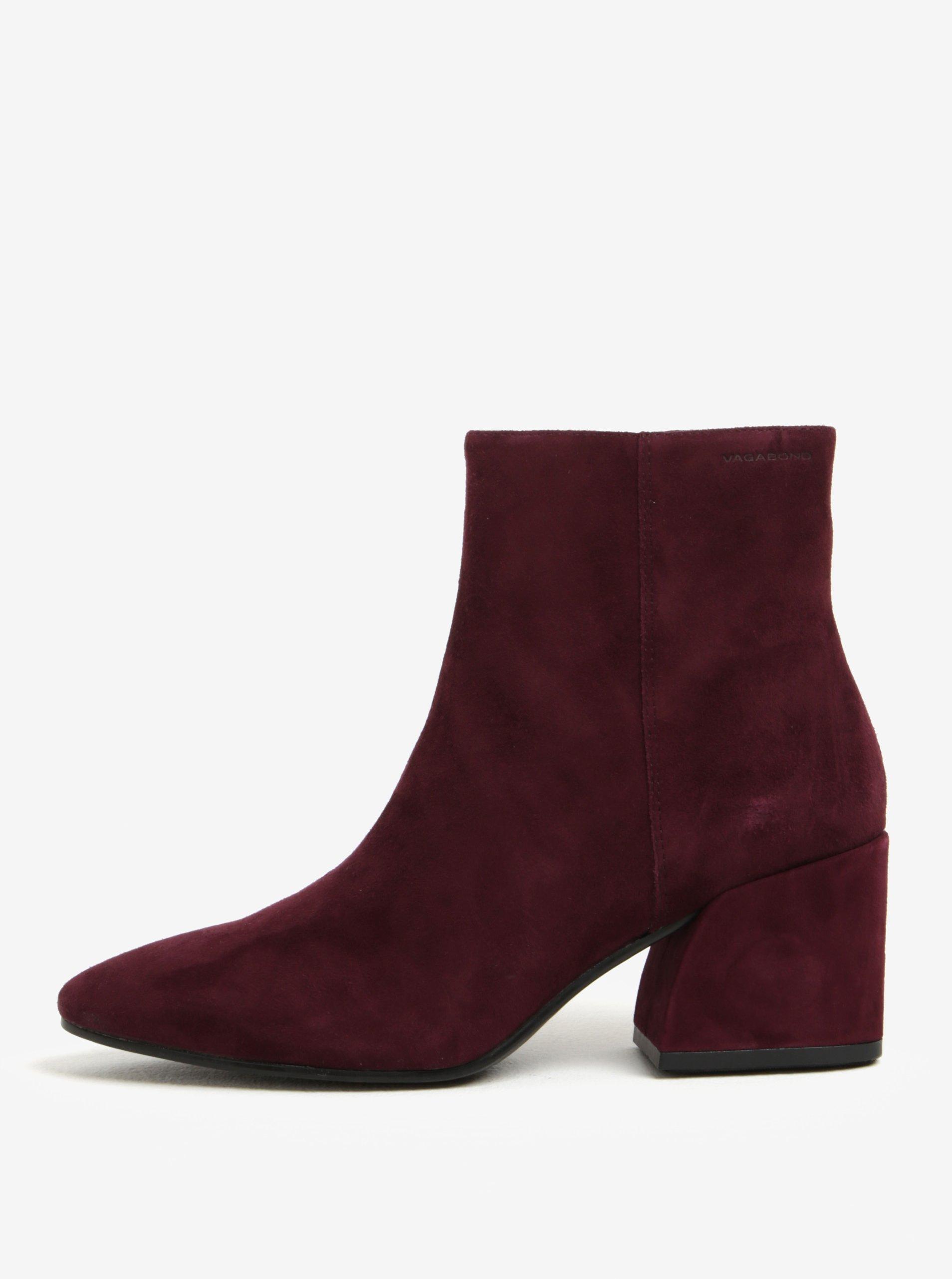Vínové dámské semišové kotníkové boty na podpatku Vagabond Olivia