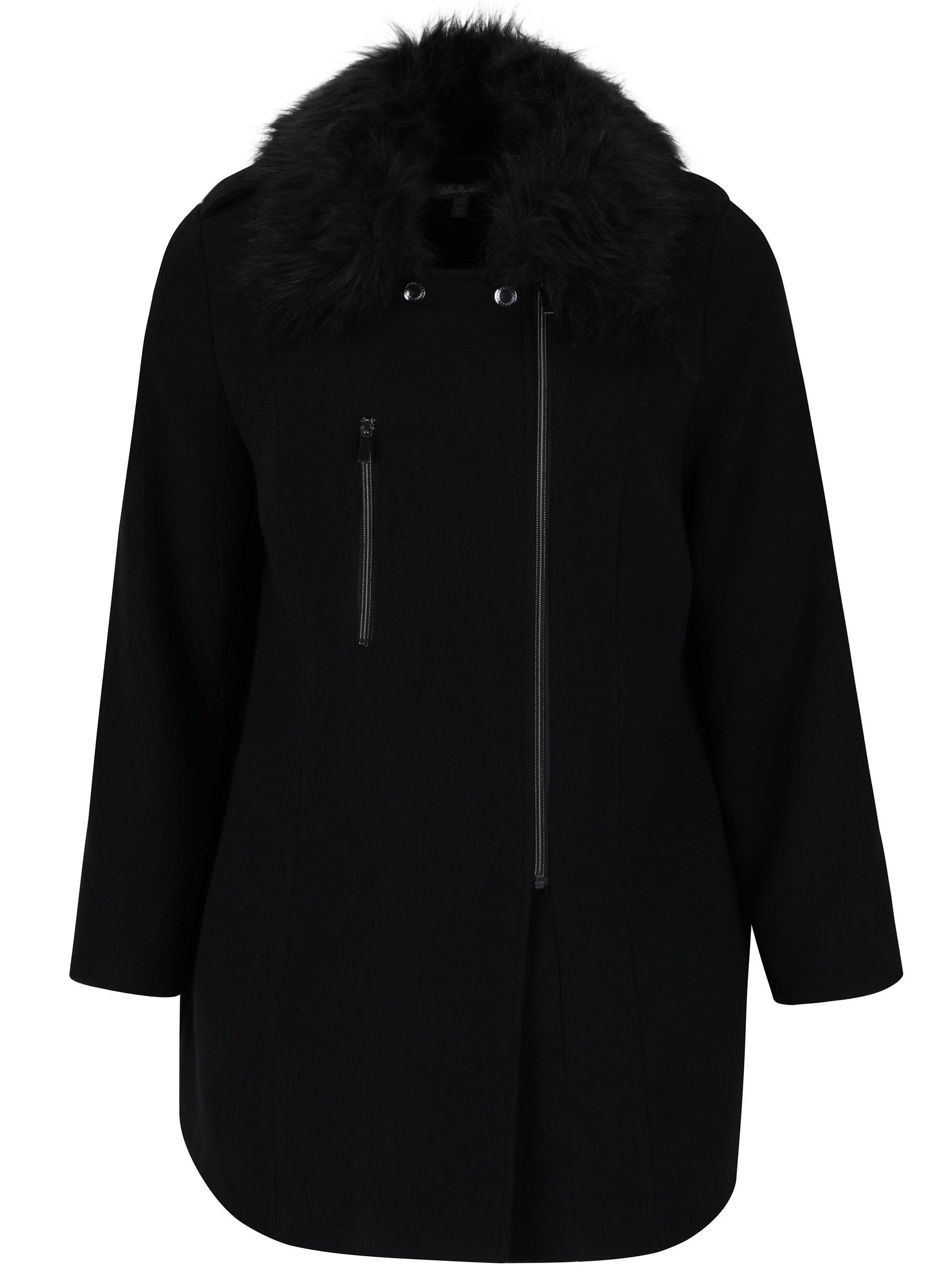 Černý kabát s umělým kožíškem Ulla Popken