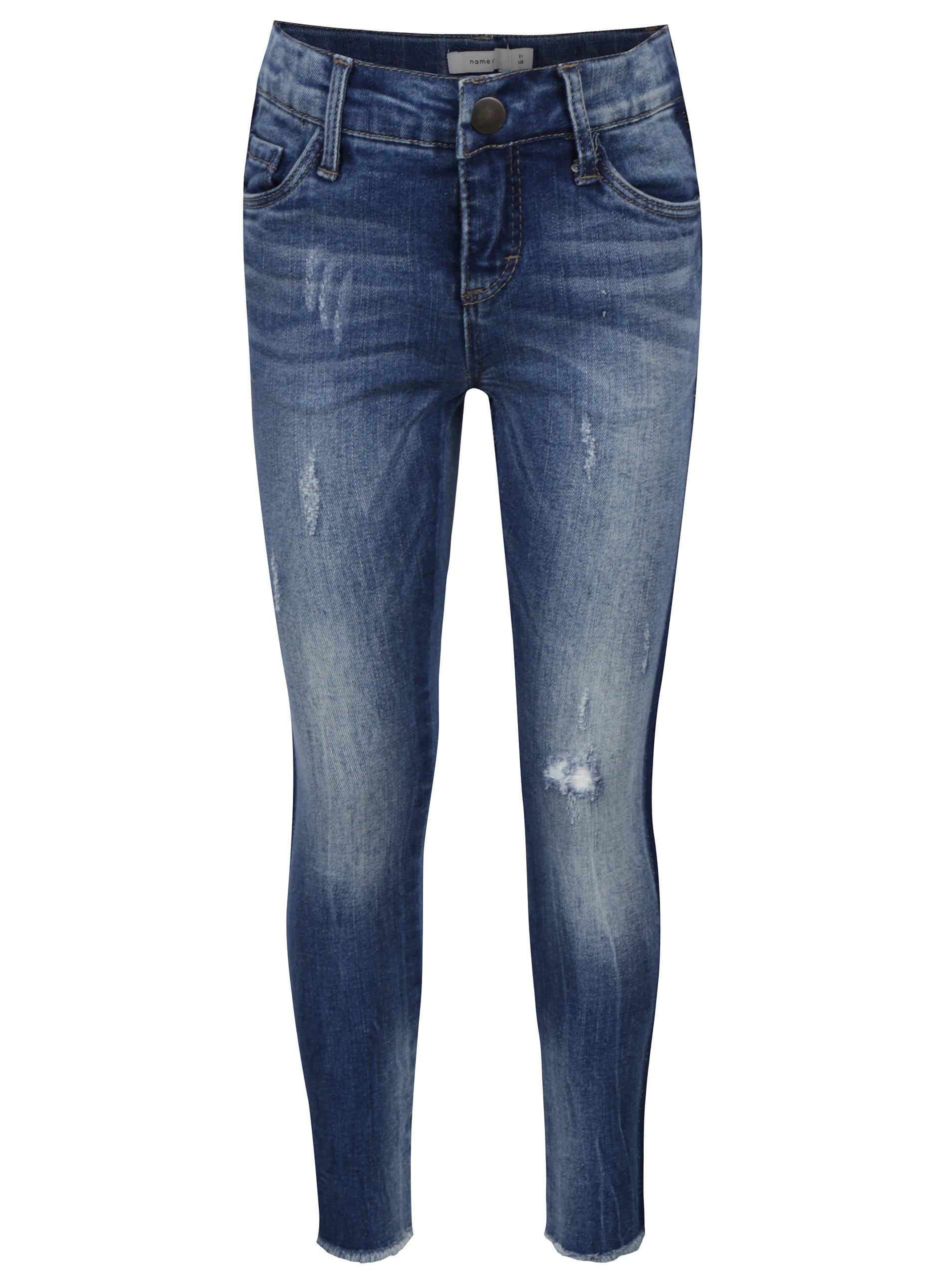 Modré holčičí skinny džíny s vyšisovaným efektem name it Ayma