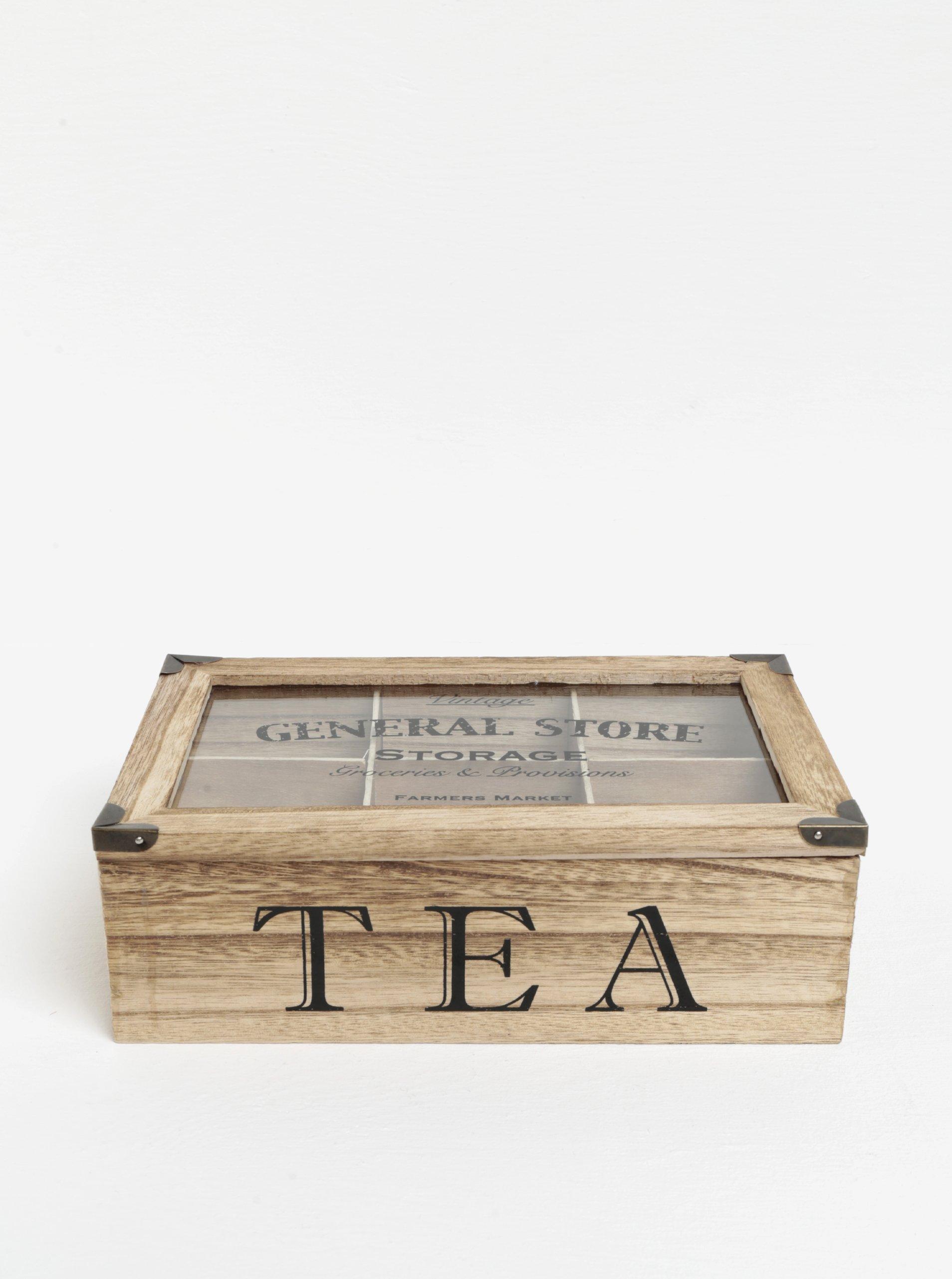 Hnědá dřevěná krabička na čaj SIFCON