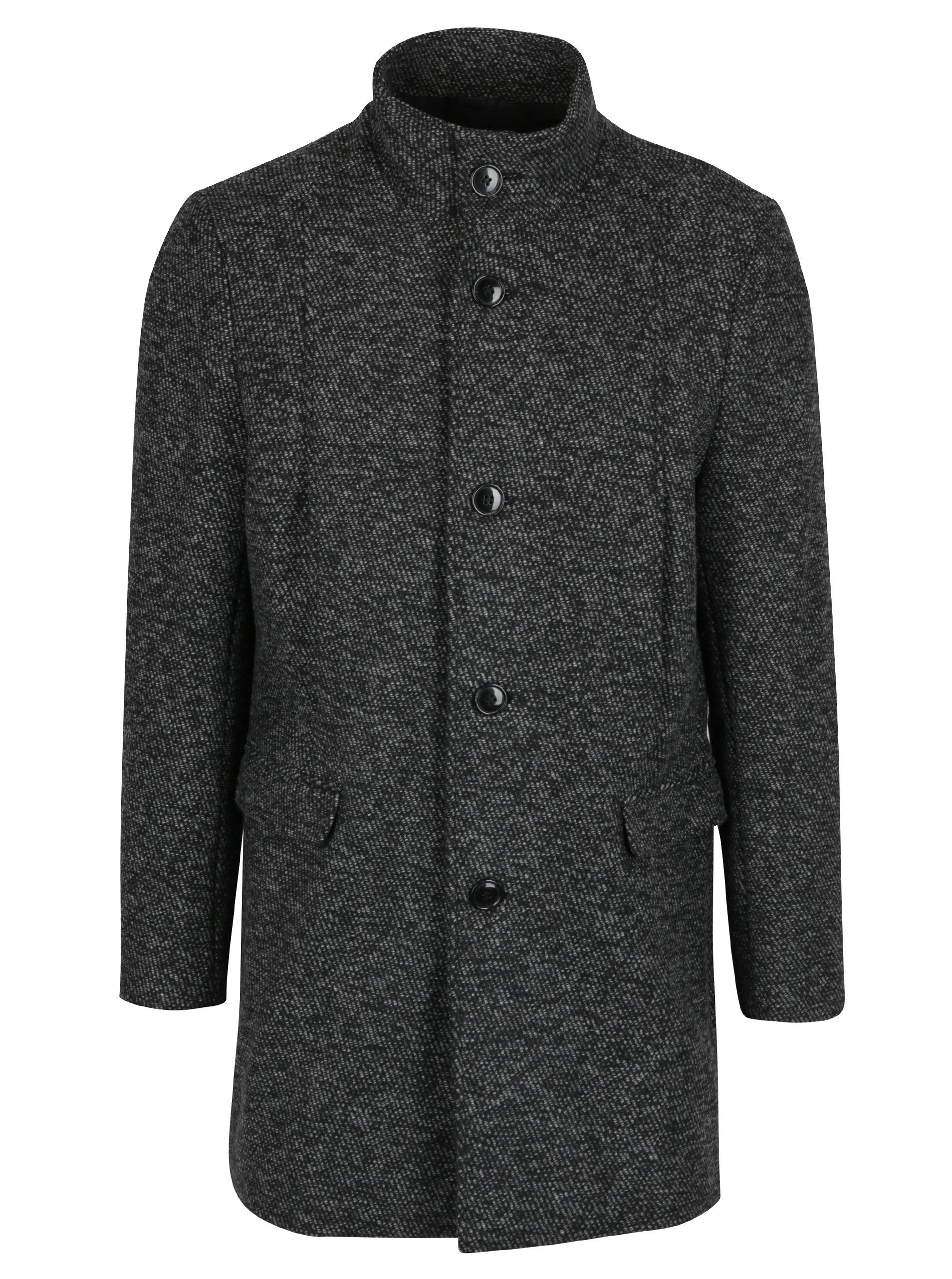 Šedý žíhaný kabát s příměsí vlny Selected Homme Mosto