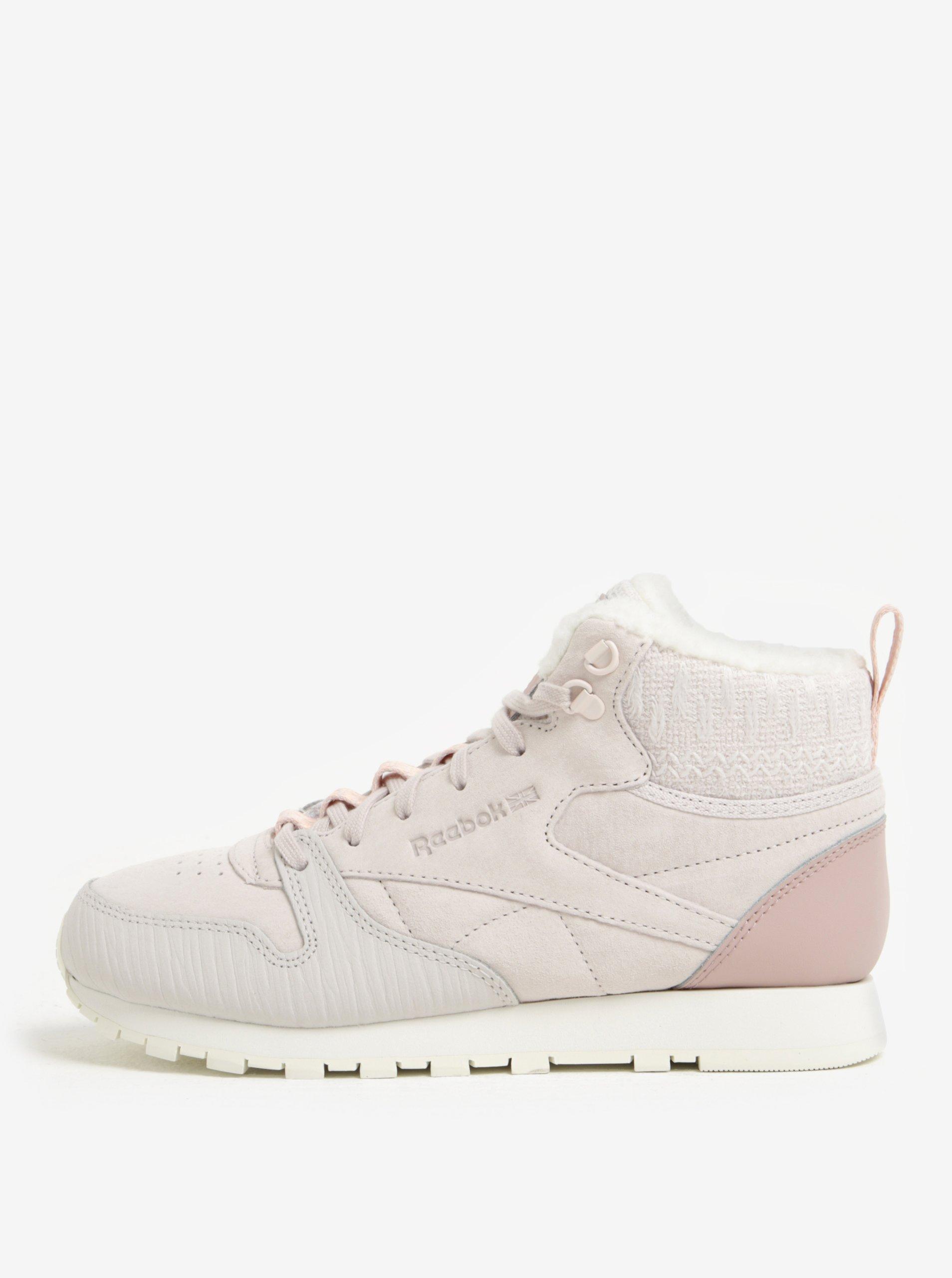 Světle růžové dámské kotníkové kožené tenisky Reebok