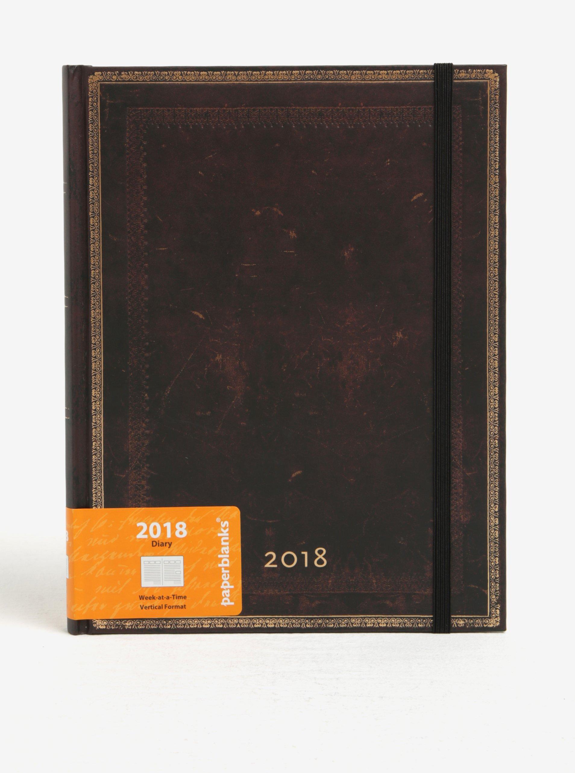 Hnědý diář 2018 Paperblanks Black Moroccan
