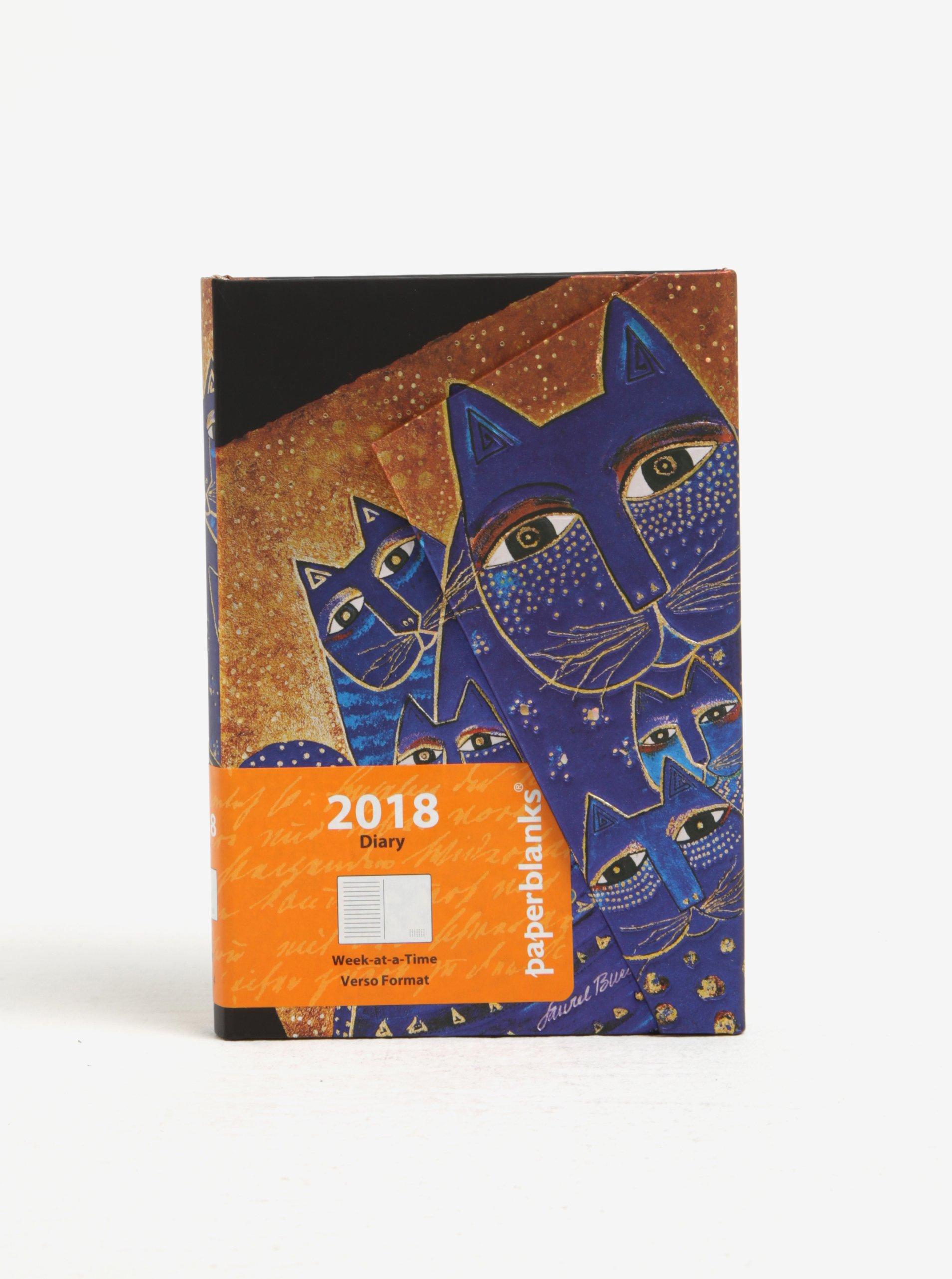Diář v modro-zlaté barvě 2018 Paperblanks Mediterranean Cats