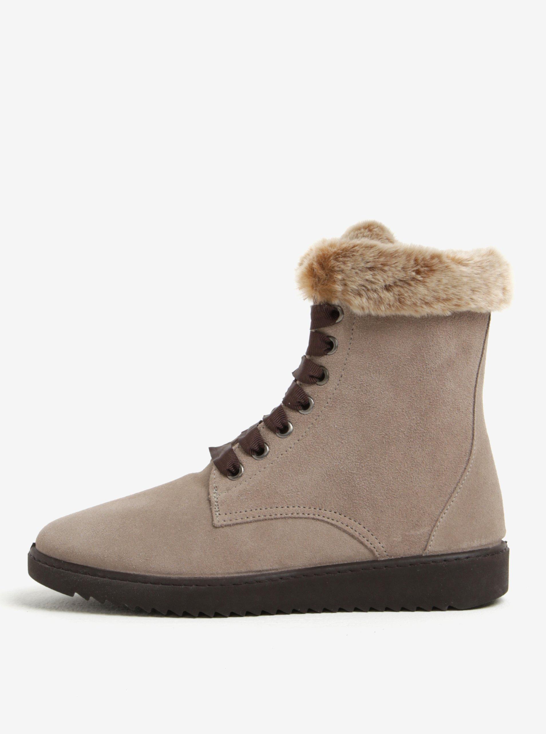 Sivé semišové členkové topánky s umelým kožúškom OJJU