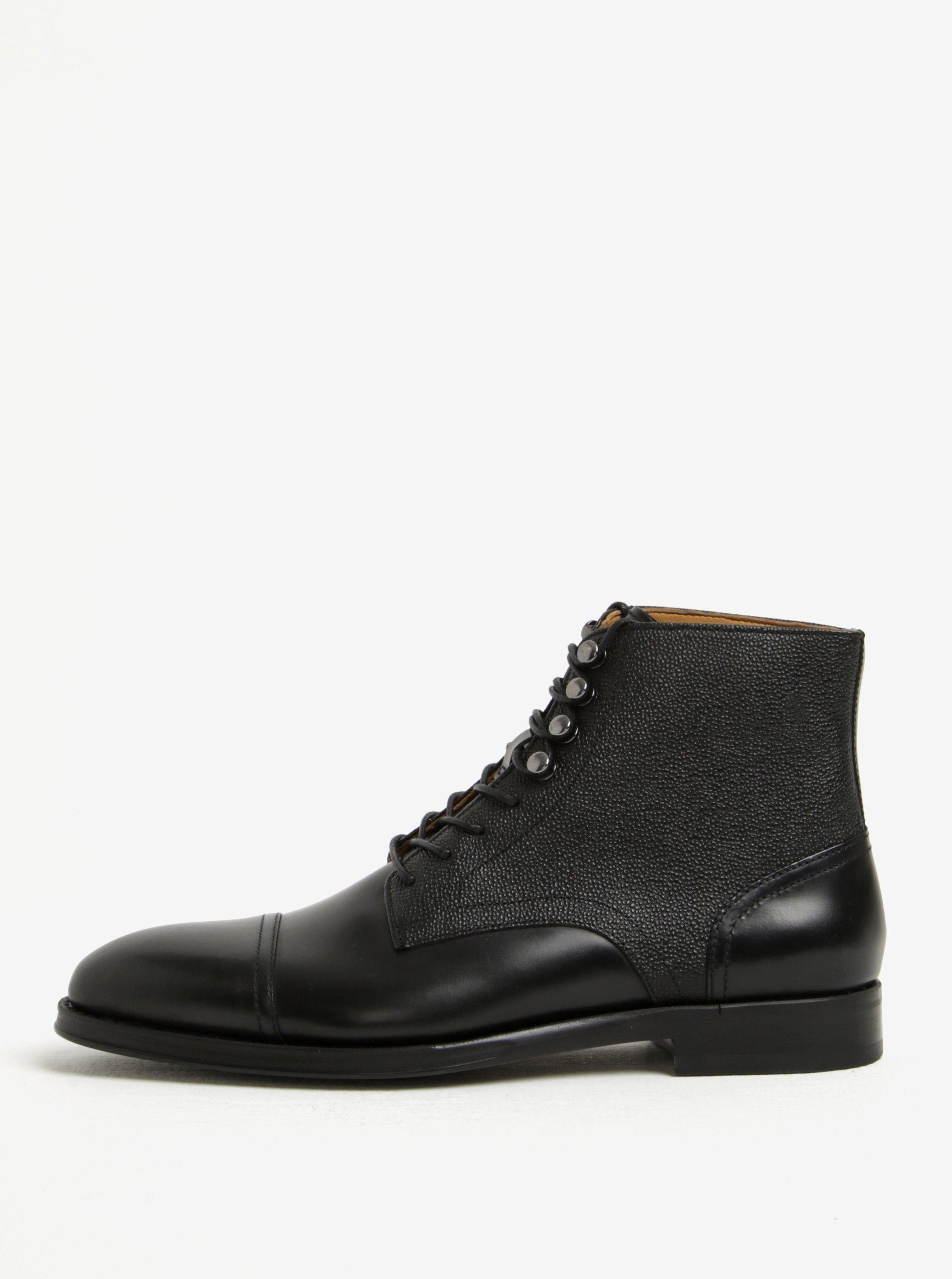 Černé pánské kožené kotníkové boty ALDO Semaj