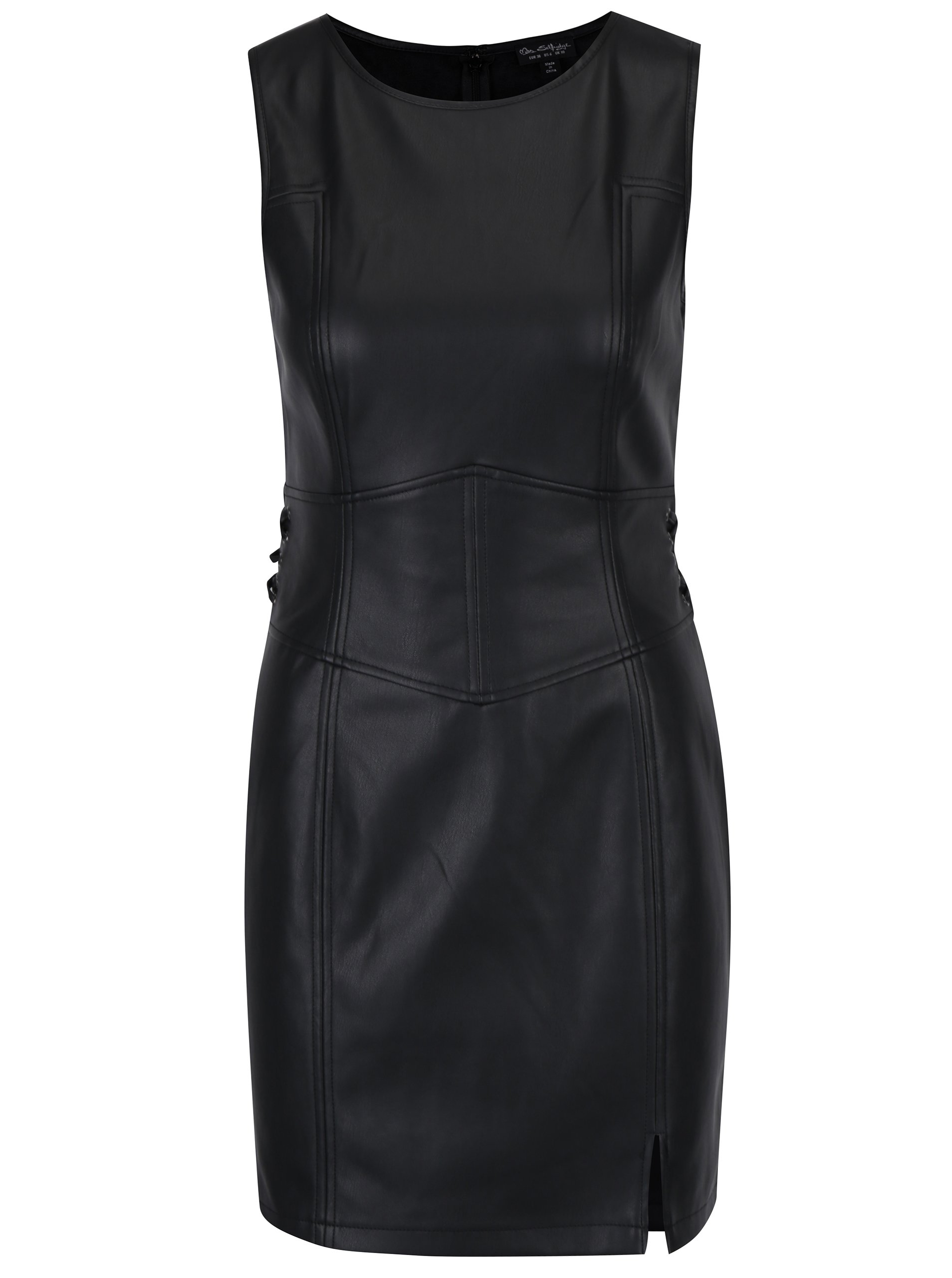 Černé koženkové minišaty bez rukávů Miss Selfridge