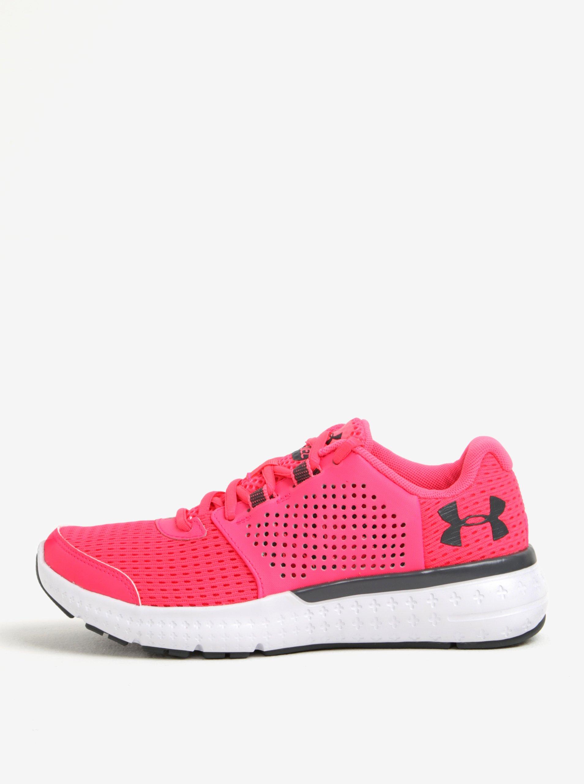 Růžové dámské tenisky s koženými detaily Under Armour Fuel